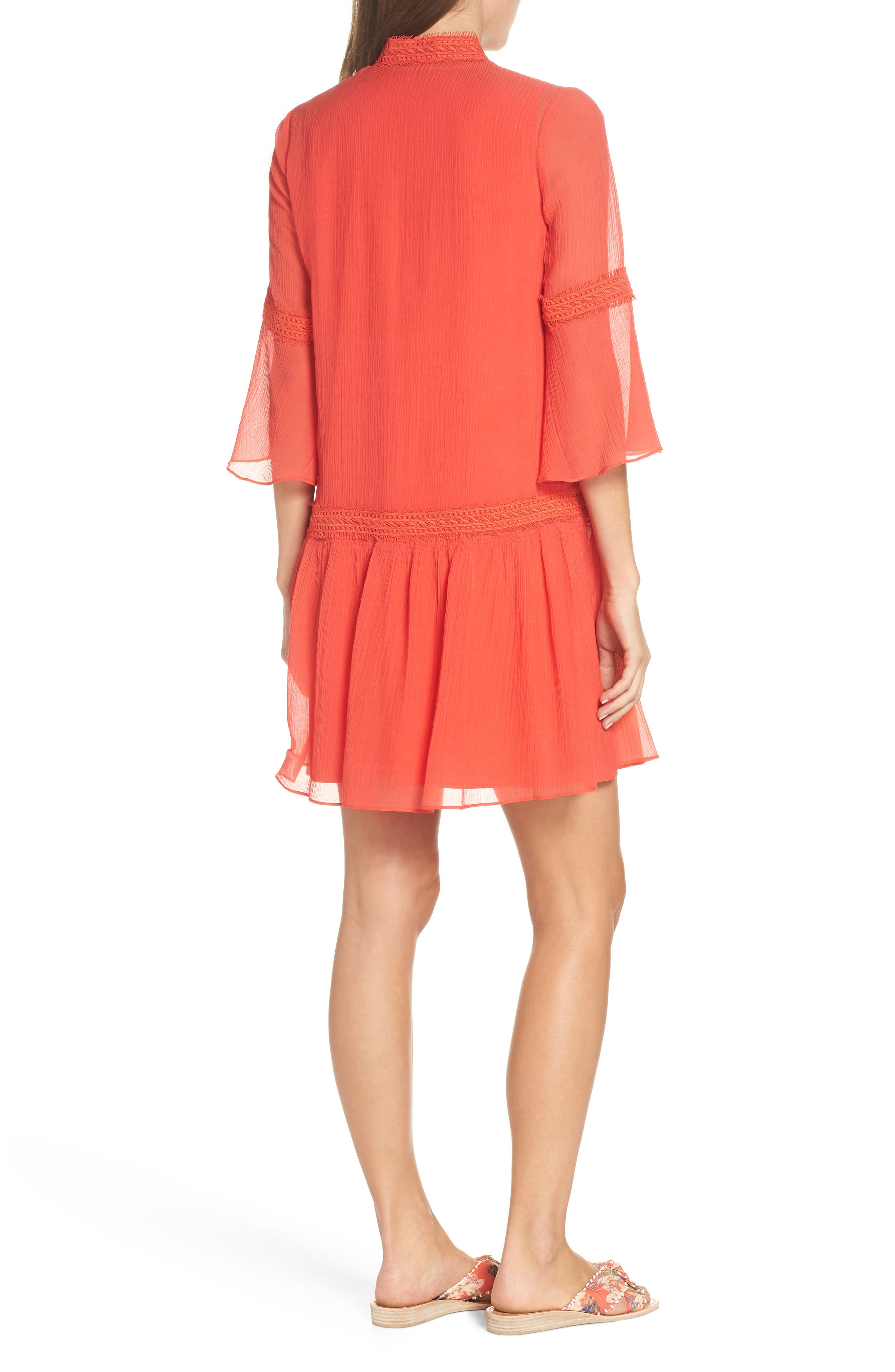 Mala Crinkle Shift Dress,                             Alternate thumbnail 2, color,                             Strawberry