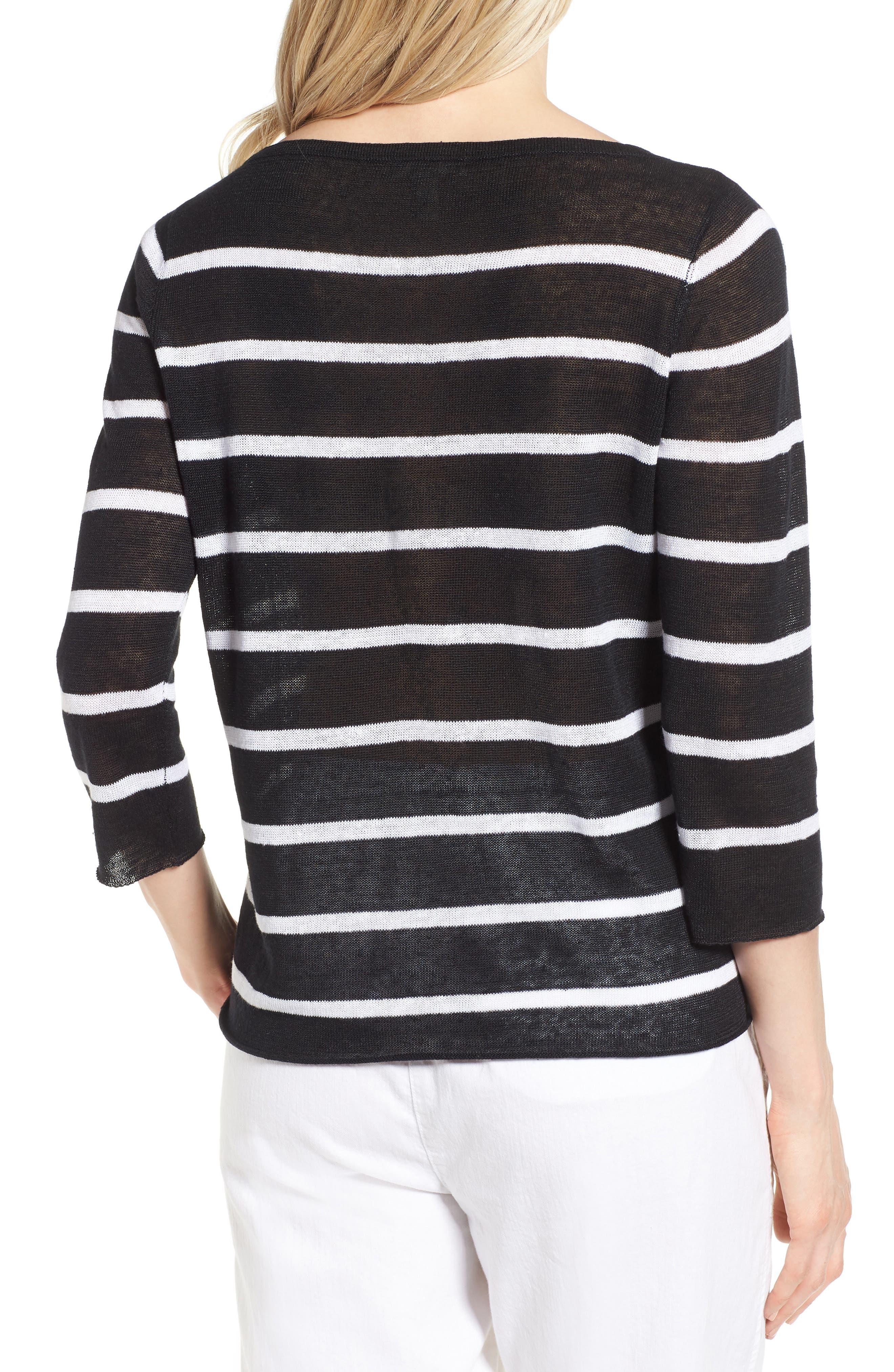 Stripe Organic Linen Sweater,                             Alternate thumbnail 2, color,                             Black/ White