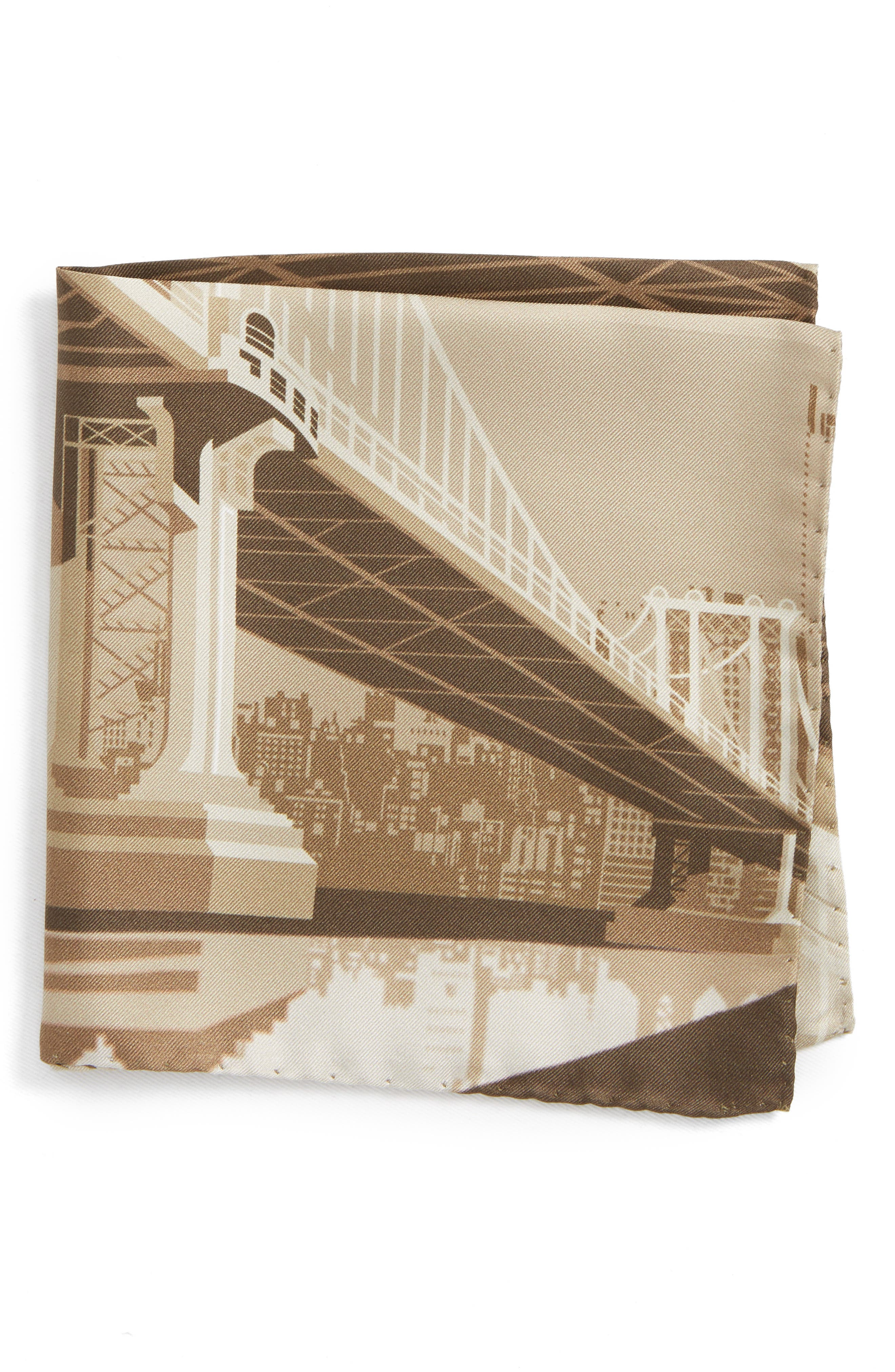Manhattan Bridge Silk Pocket Square,                             Main thumbnail 1, color,                             Brown