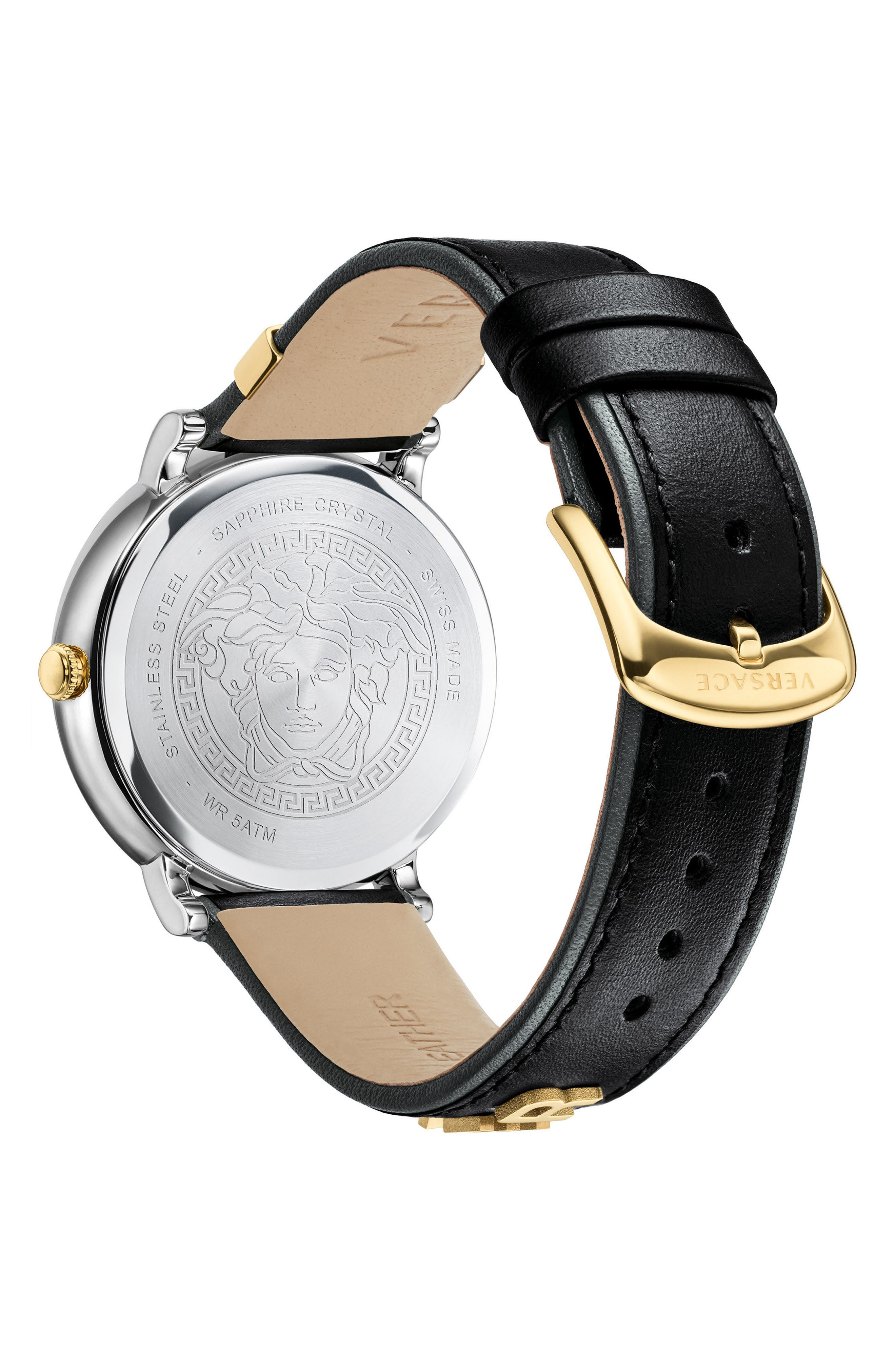 Manifesto Leather Strap Watch, 38mm,                             Alternate thumbnail 2, color,                             Black/ Silver/ Gold