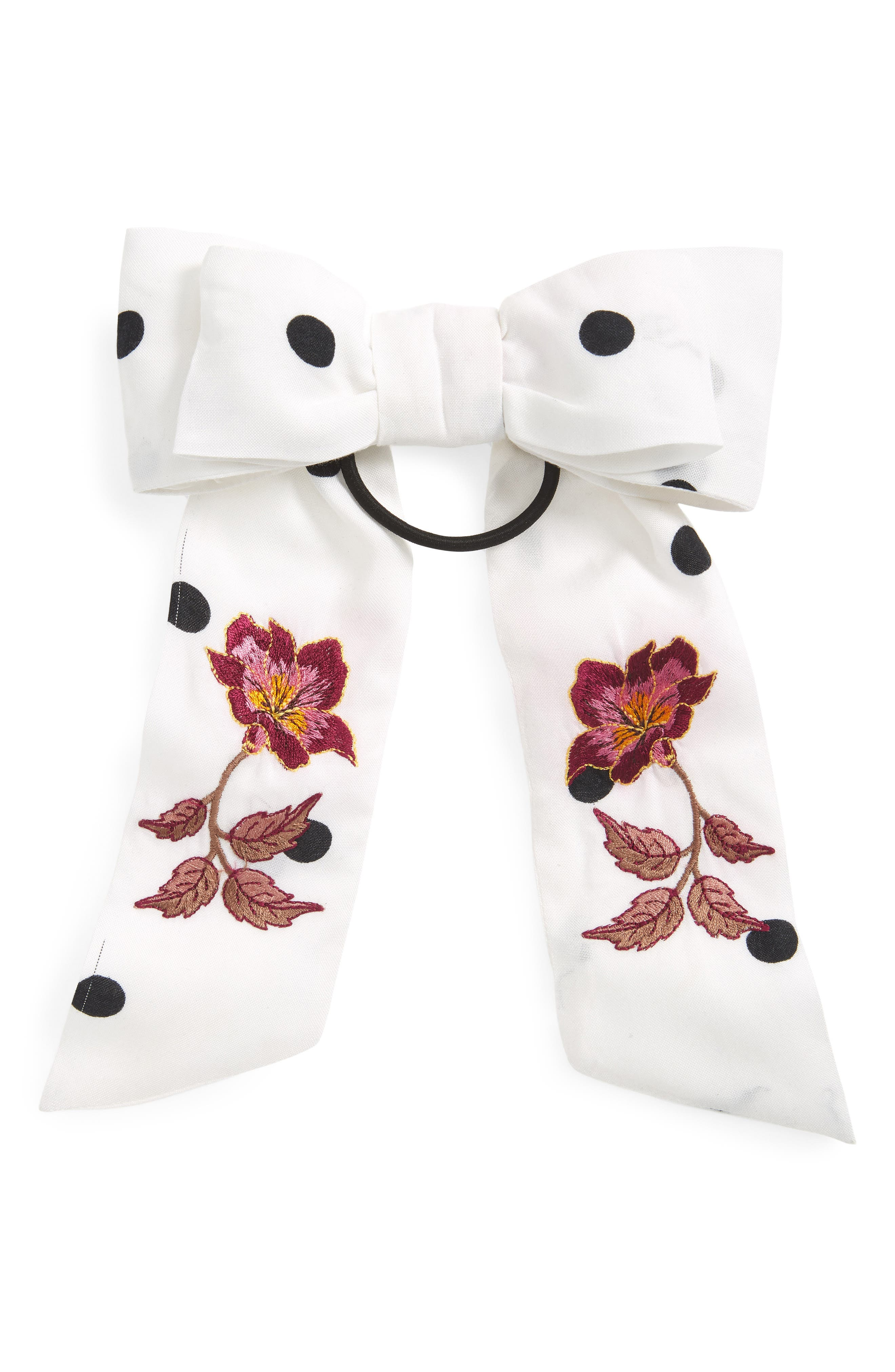 New Friends Colony Embroidered Double Bow Hair Tie