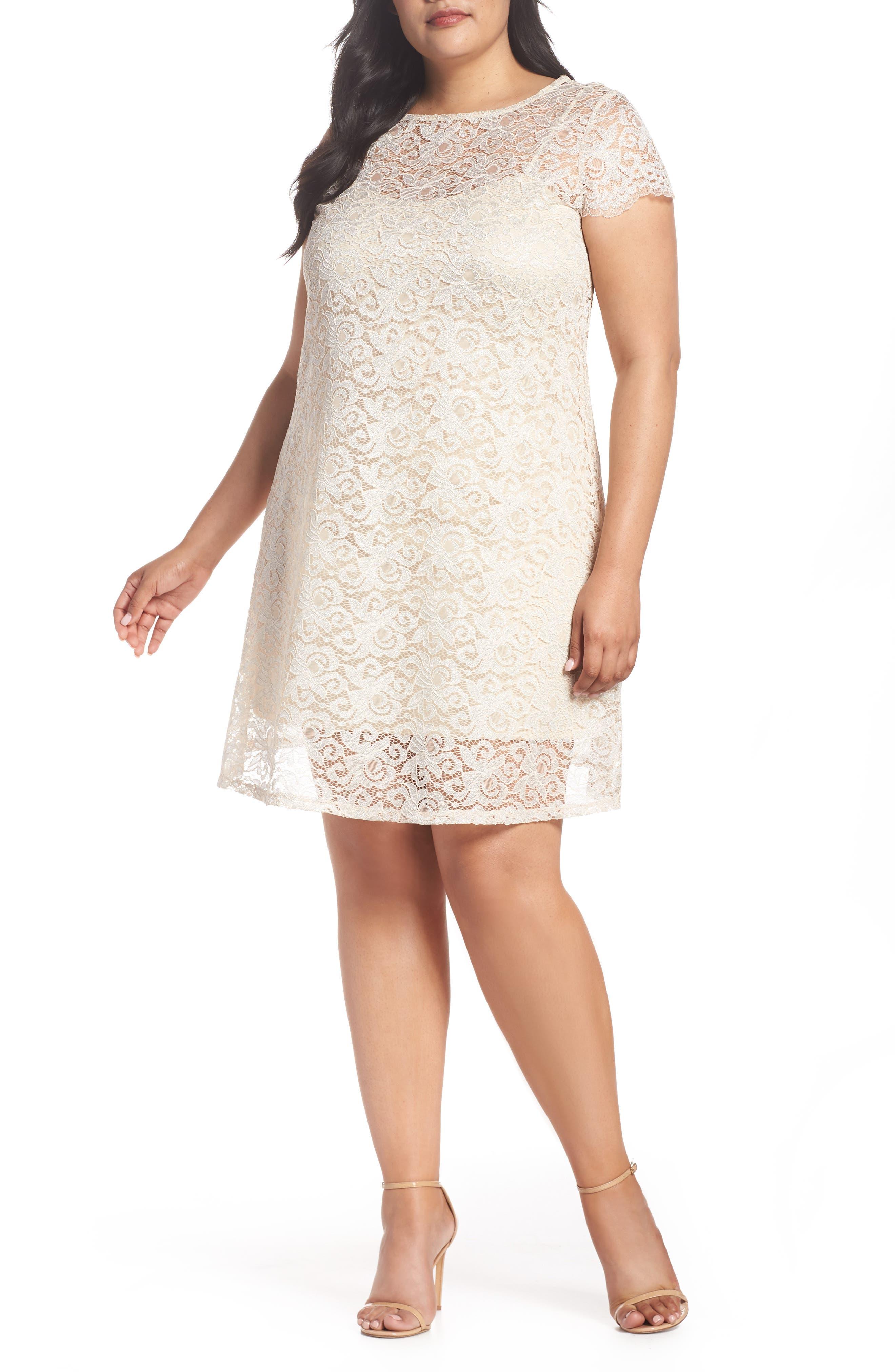 Lace A-Line Dress,                             Main thumbnail 1, color,                             Taupe