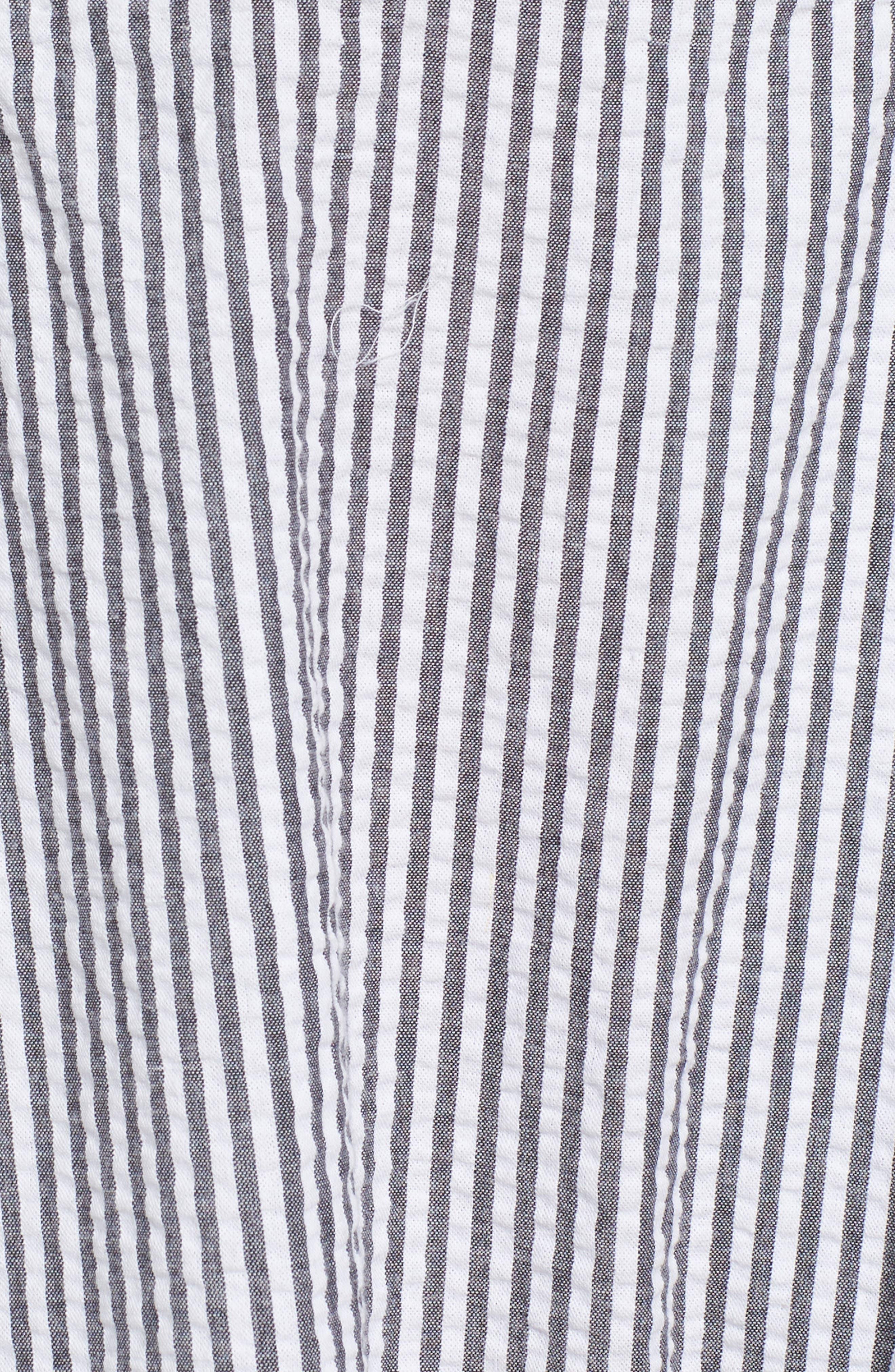 Seersucker Bustier Midi Dress,                             Alternate thumbnail 6, color,                             Black/ White Multi