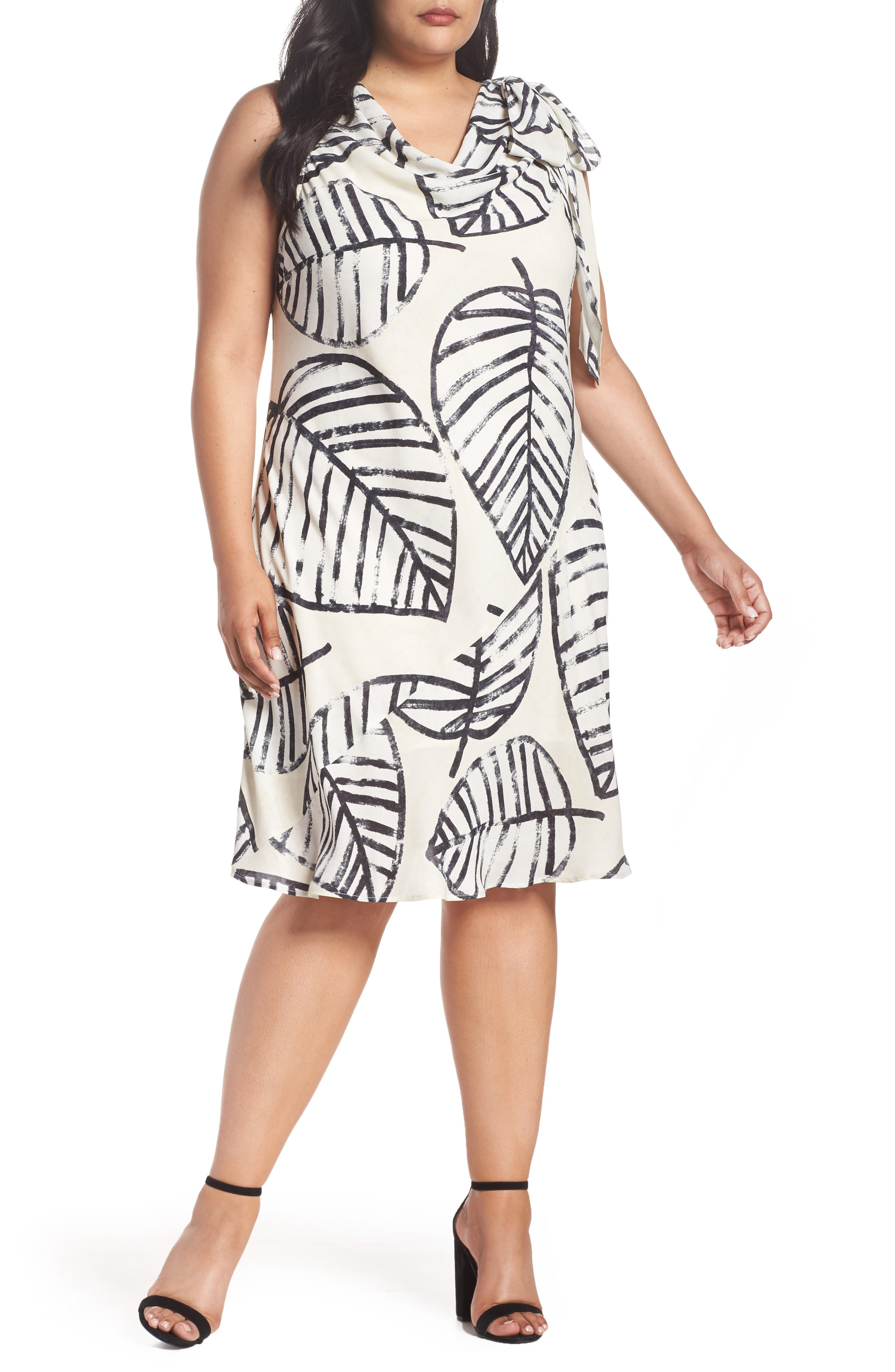 Etched Leaves Tie Dress,                         Main,                         color, Sand Shell