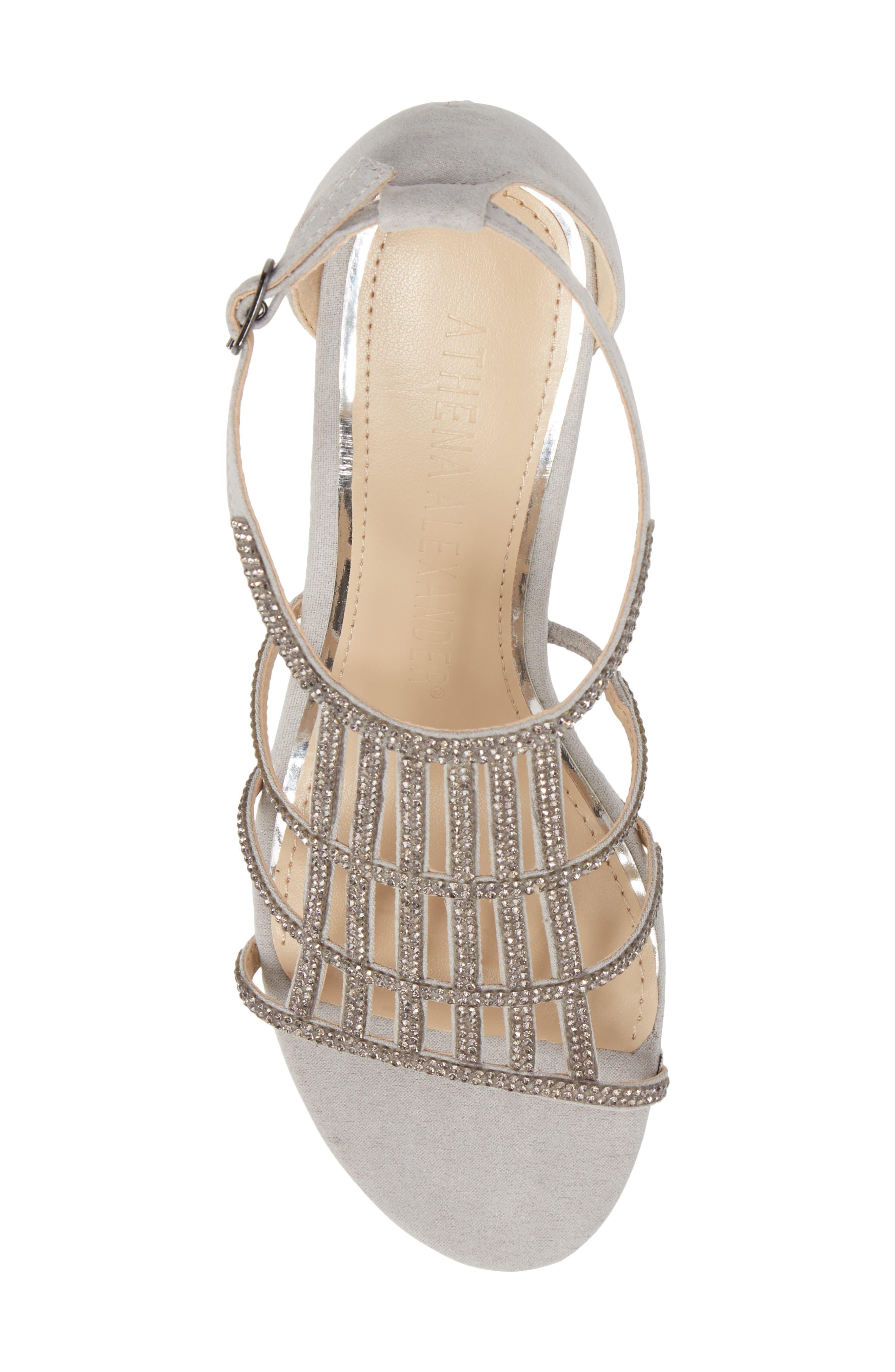 Hampton Crystal Embellished Wedge Sandal,                             Alternate thumbnail 5, color,                             Grey Suede