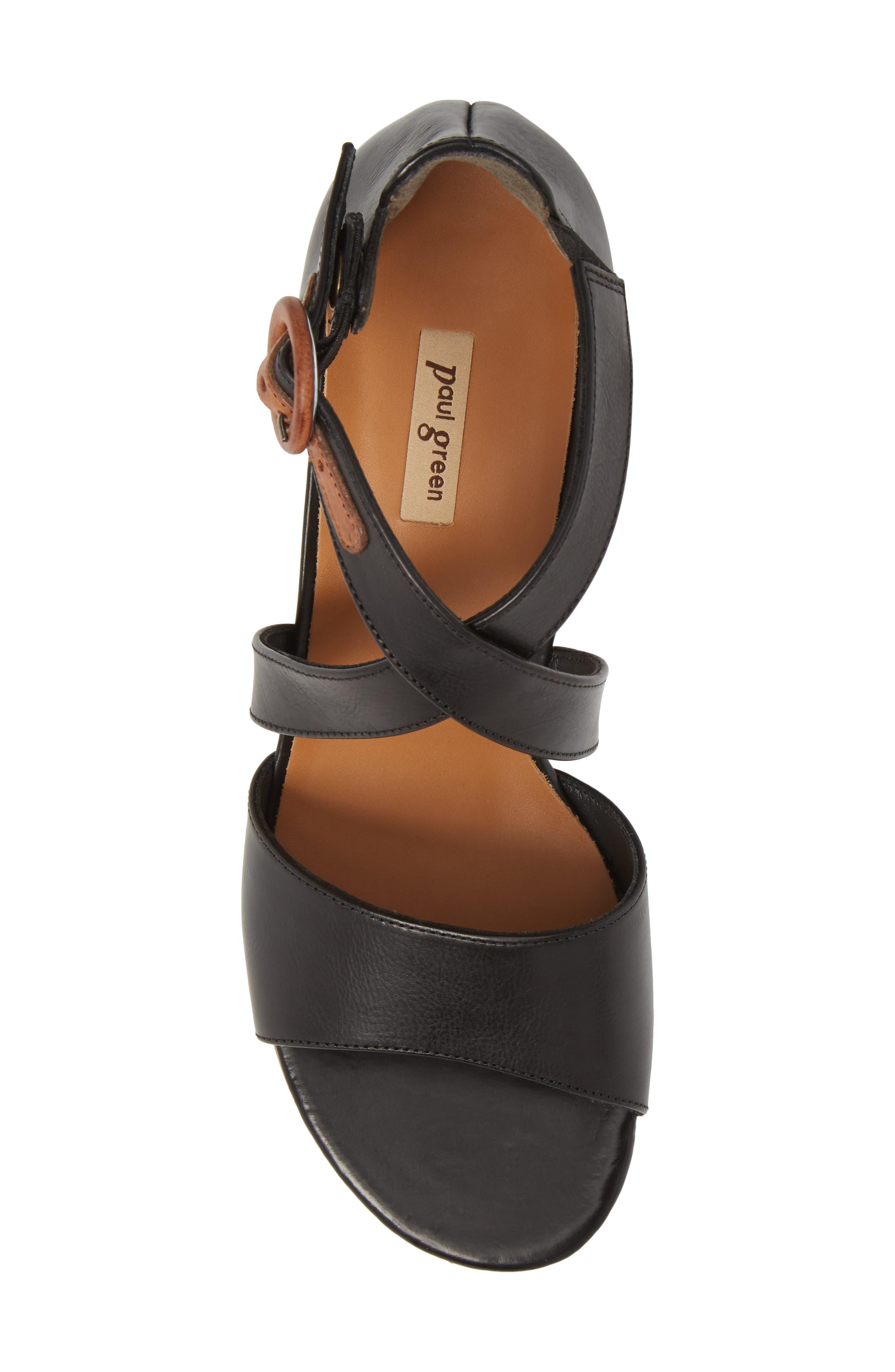 Sally Quarter Strap Sandal,                             Alternate thumbnail 5, color,                             Black Leather