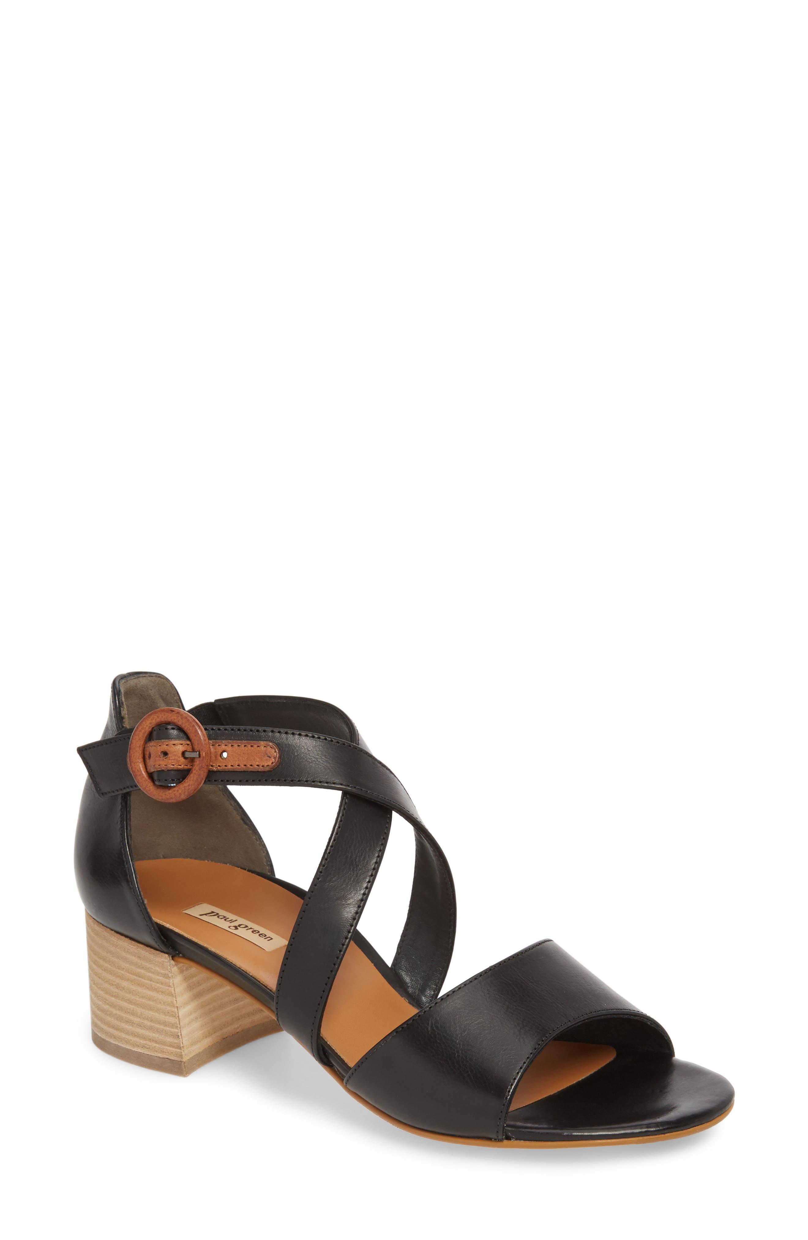 Sally Quarter Strap Sandal,                         Main,                         color, Black Leather