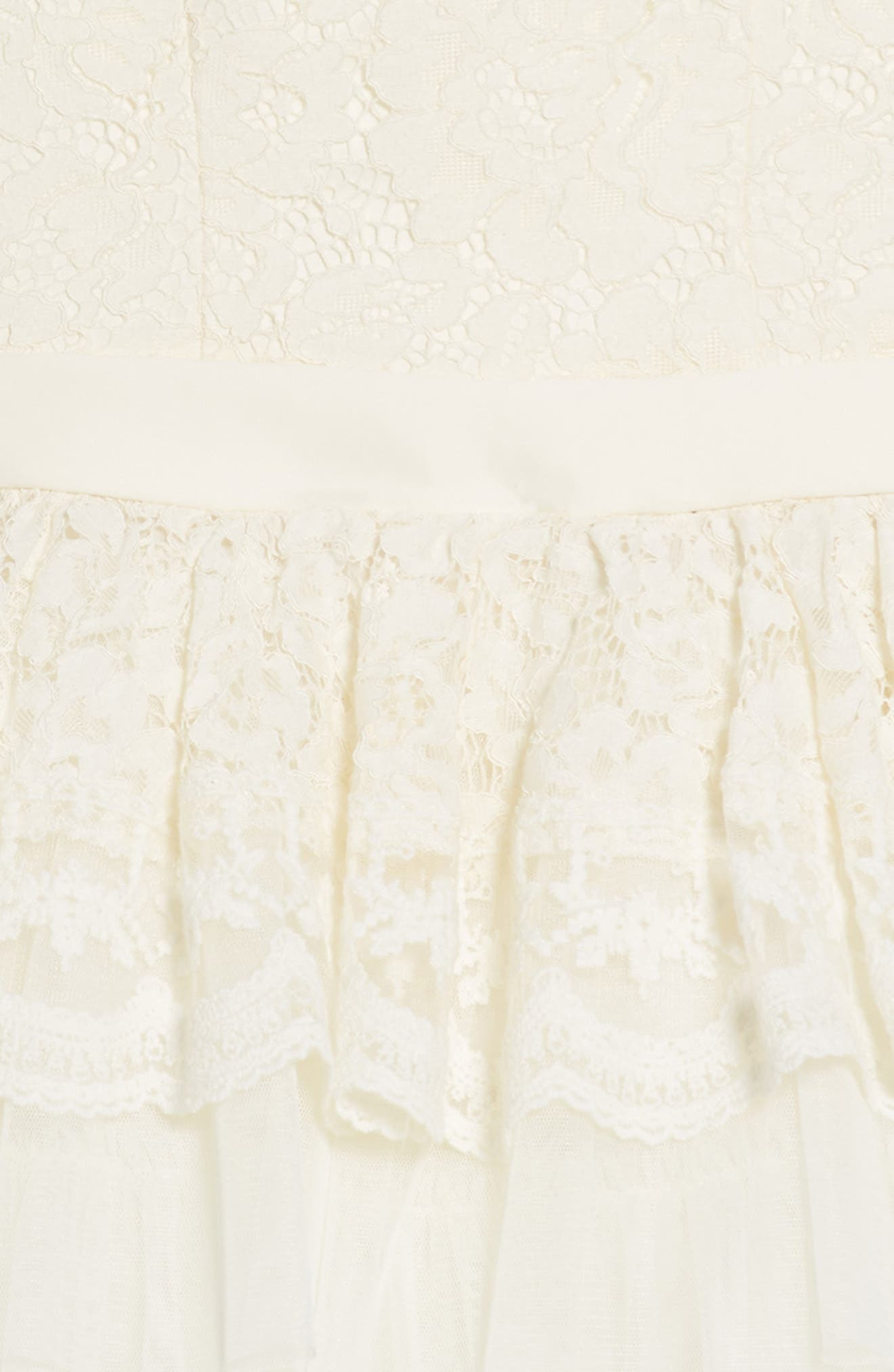 Tiered Lace & Tulle Dress,                             Alternate thumbnail 3, color,                             Cream