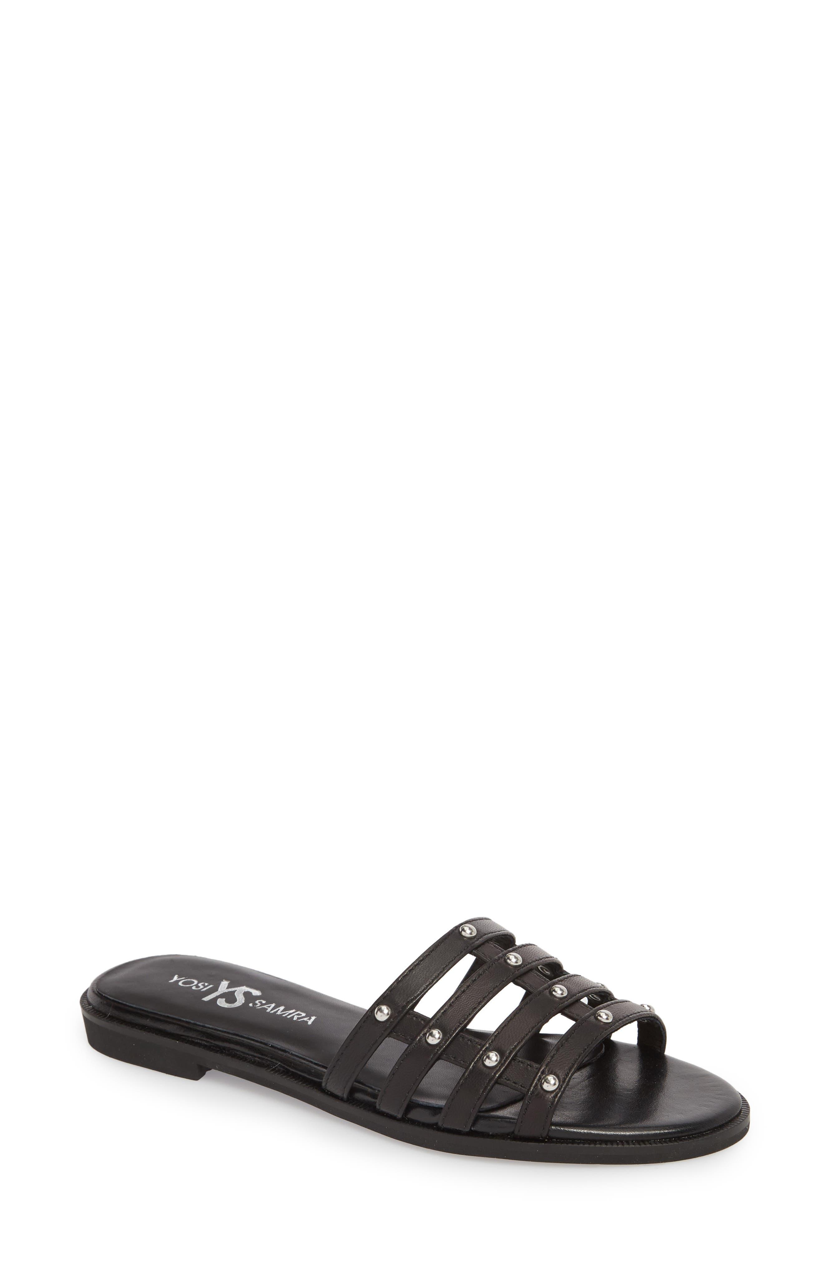 Cara Slide Sandal,                             Main thumbnail 1, color,                             Black/ Silver Studs