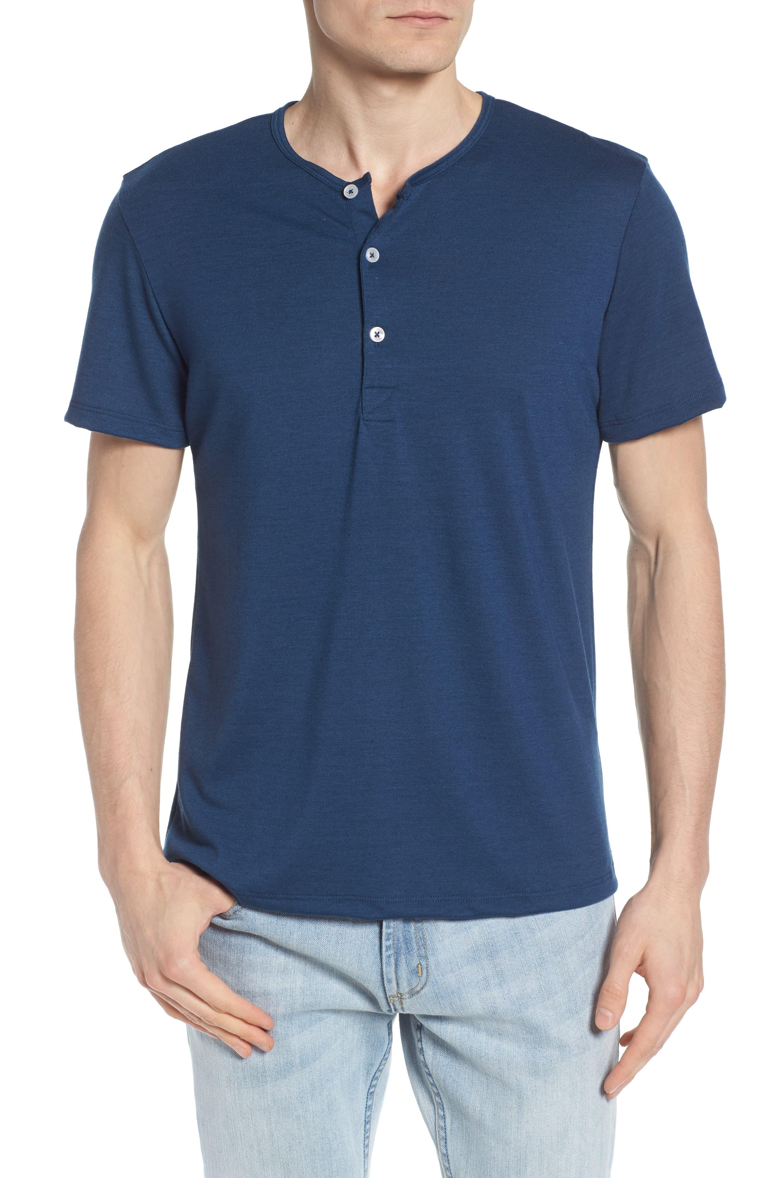 Tigua Short Sleeve Henley,                         Main,                         color, Blue