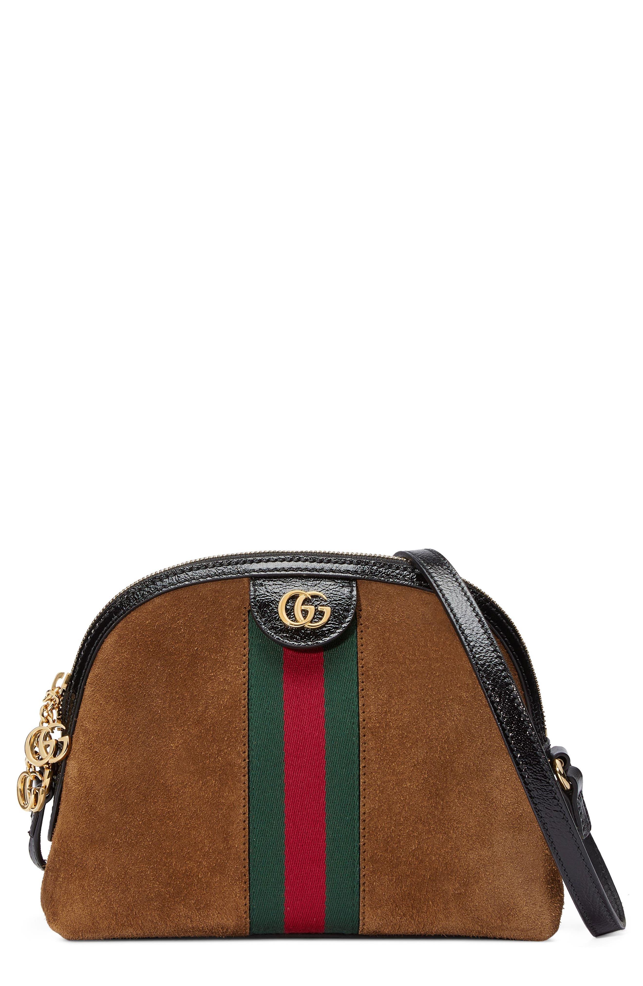 Small Suede Shoulder Bag,                             Main thumbnail 1, color,                             Nocciola/ Nero/ Vert Red Vert