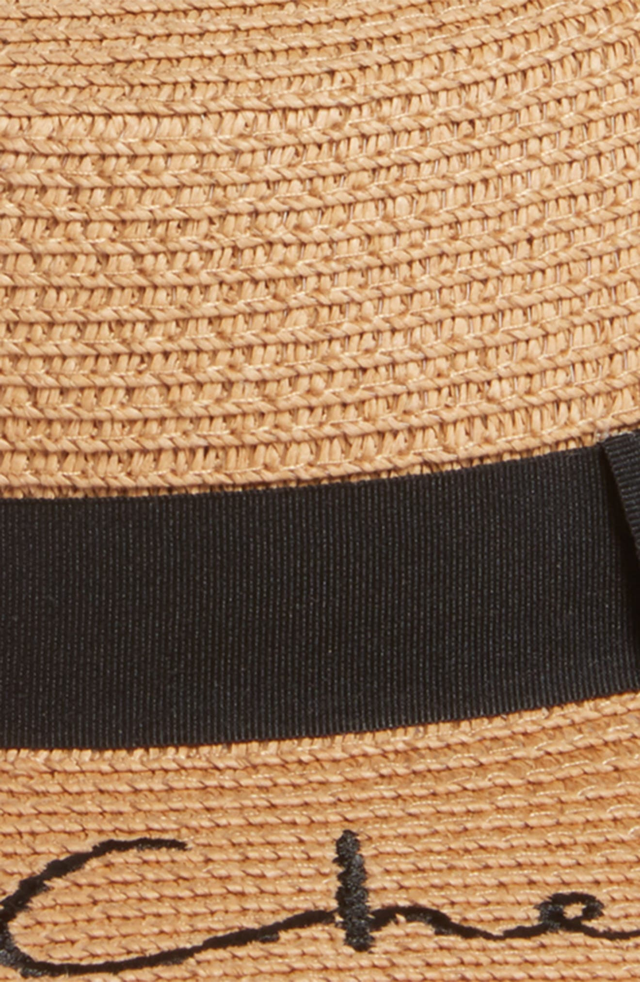 Verbiage Frayed Edge Straw Boater Hat,                             Alternate thumbnail 2, color,                             Natural/ Black