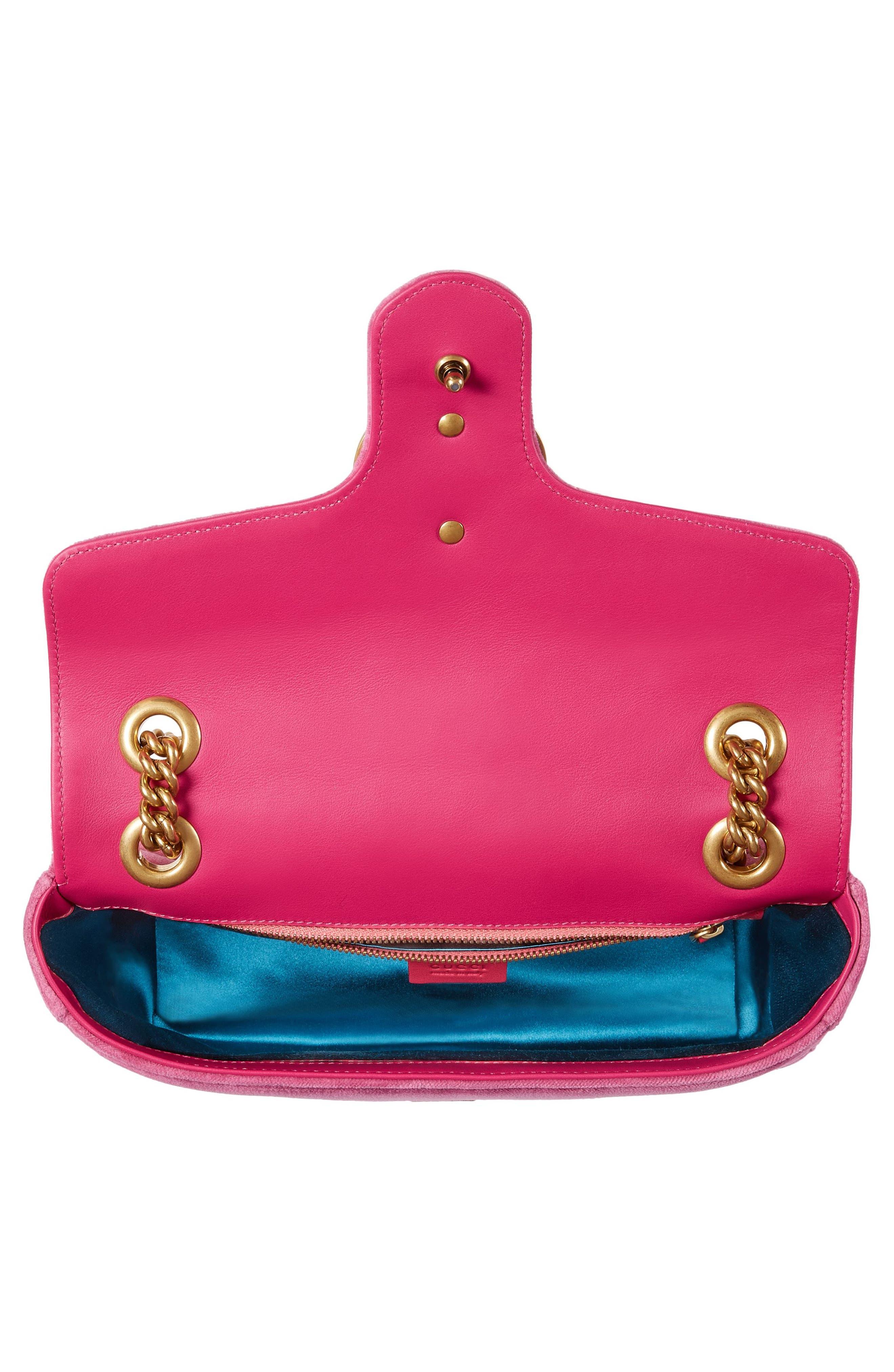 Medium GG Marmont 2.0 Matelassé Velvet Shoulder Bag,                             Alternate thumbnail 3, color,                             Raspberry/ Raspberry Multi