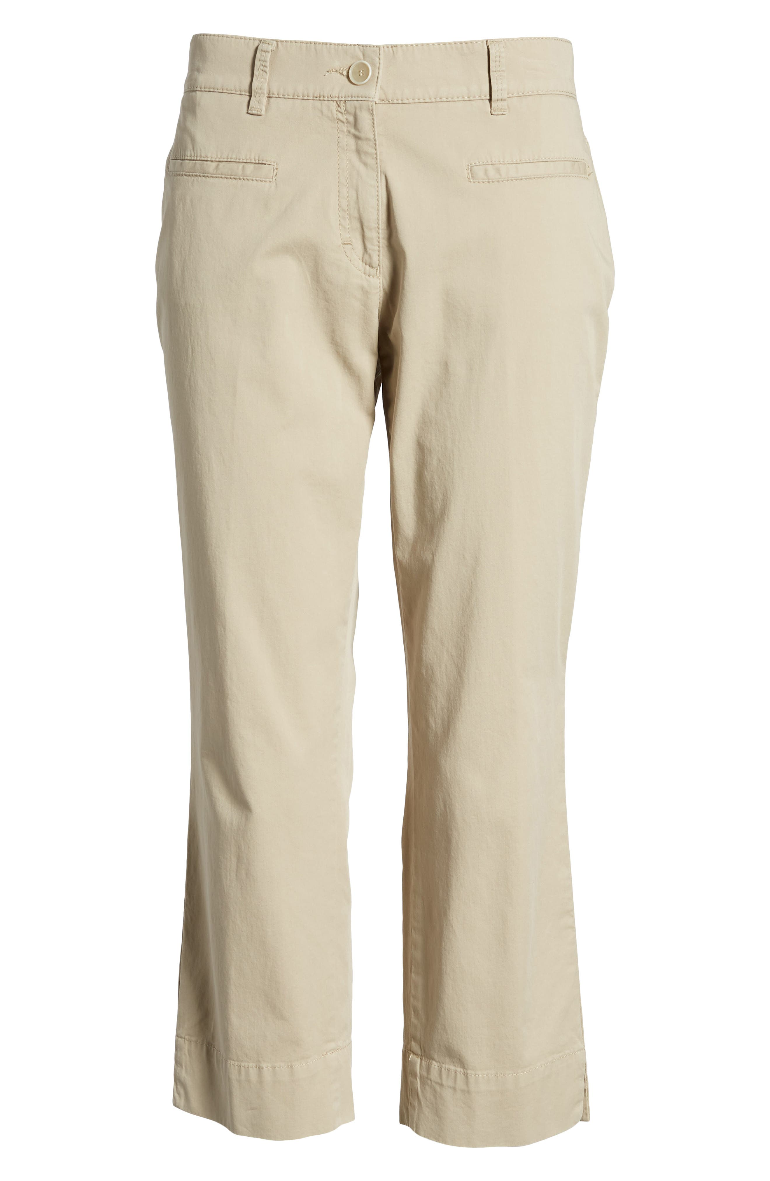 Sunny Stretch Cotton Slit Hem Pants,                             Alternate thumbnail 6, color,                             Almond