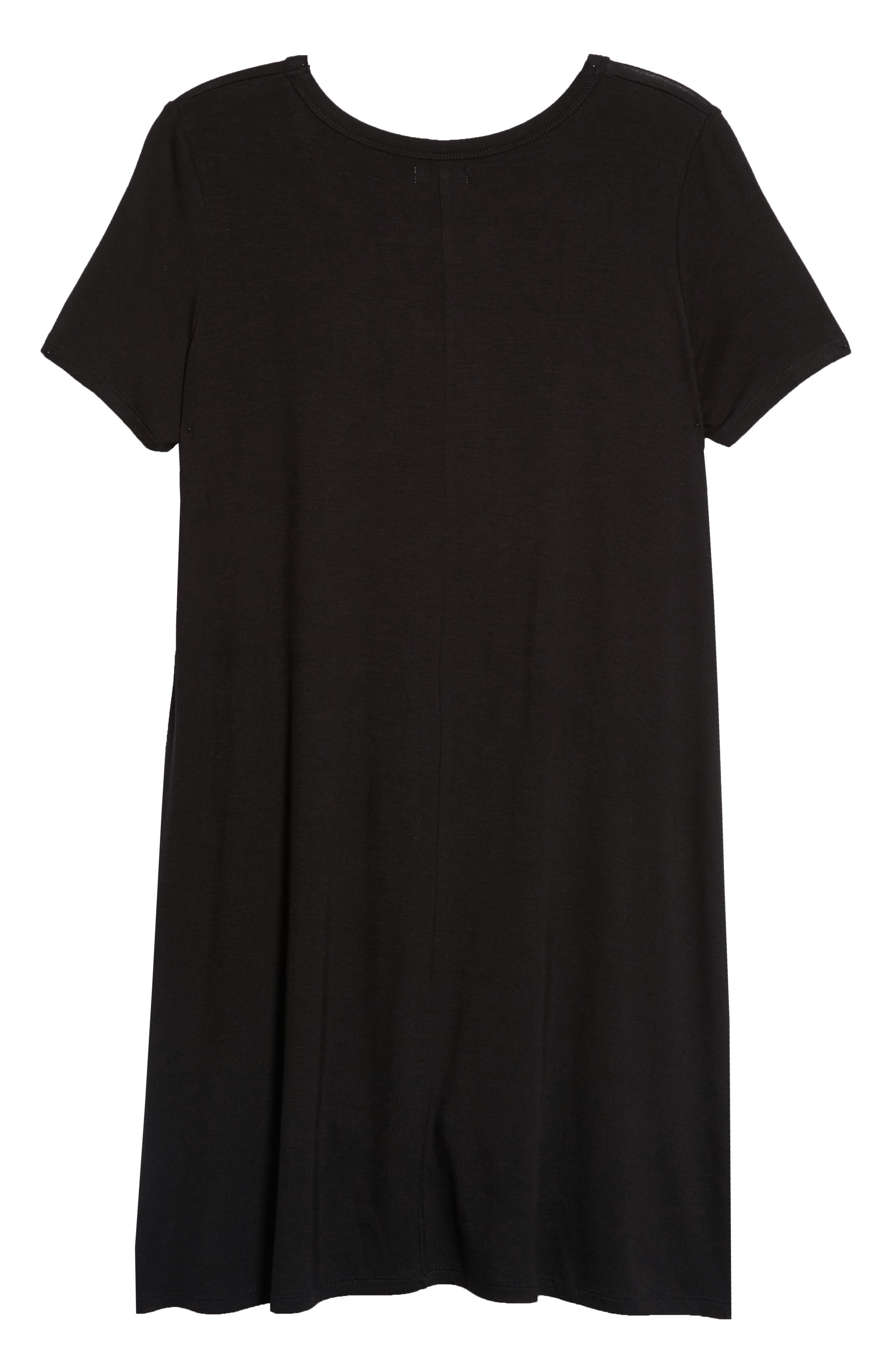 Gigi Knit Swing Dress,                             Alternate thumbnail 3, color,                             Black