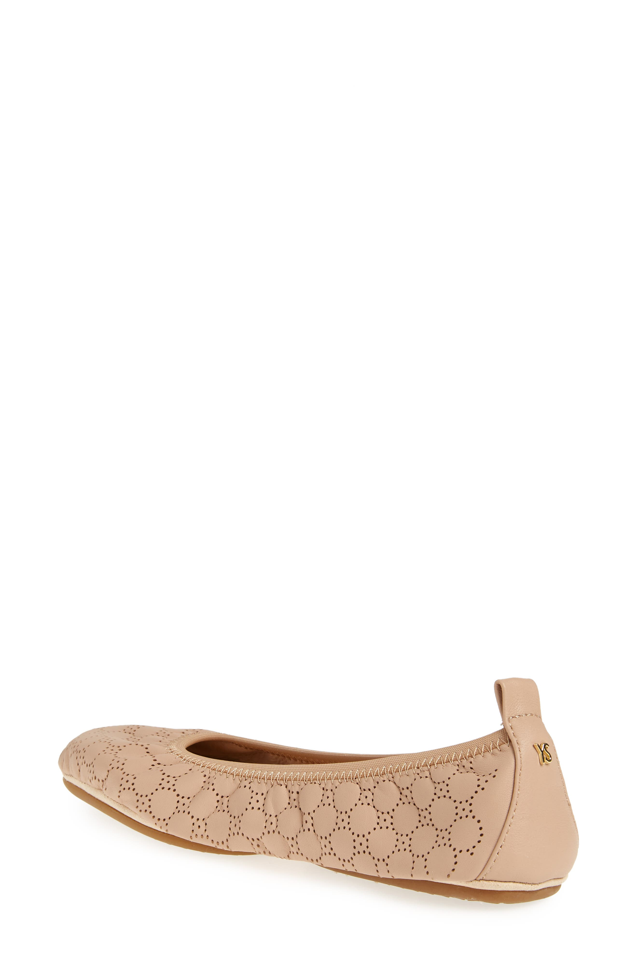 Vince Foldable Ballet Flat,                             Alternate thumbnail 2, color,                             Nude Circle Perforated Leather