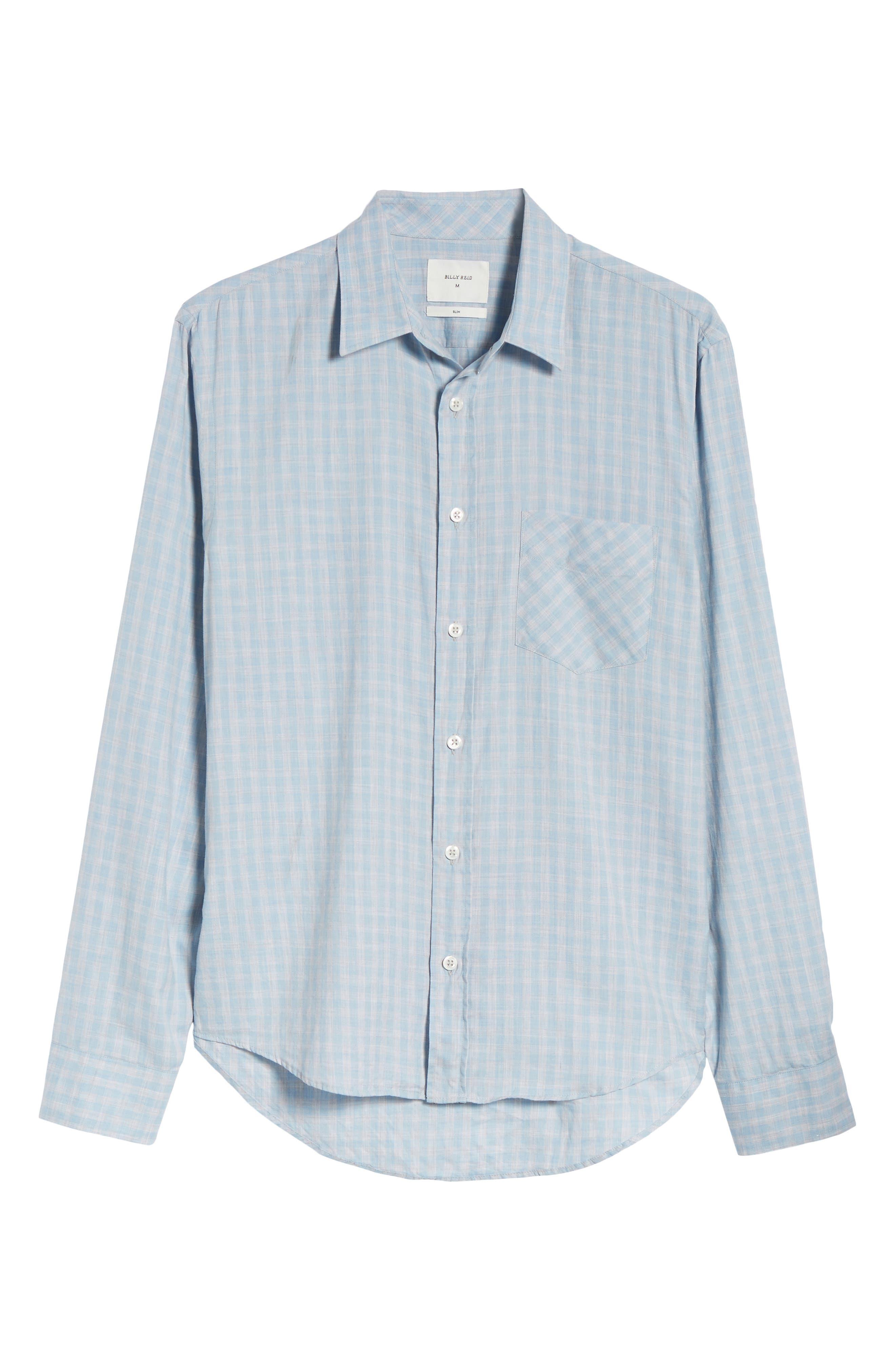 Kirby Slim Fit Check Sport Shirt,                             Alternate thumbnail 6, color,                             Blue/ Grey