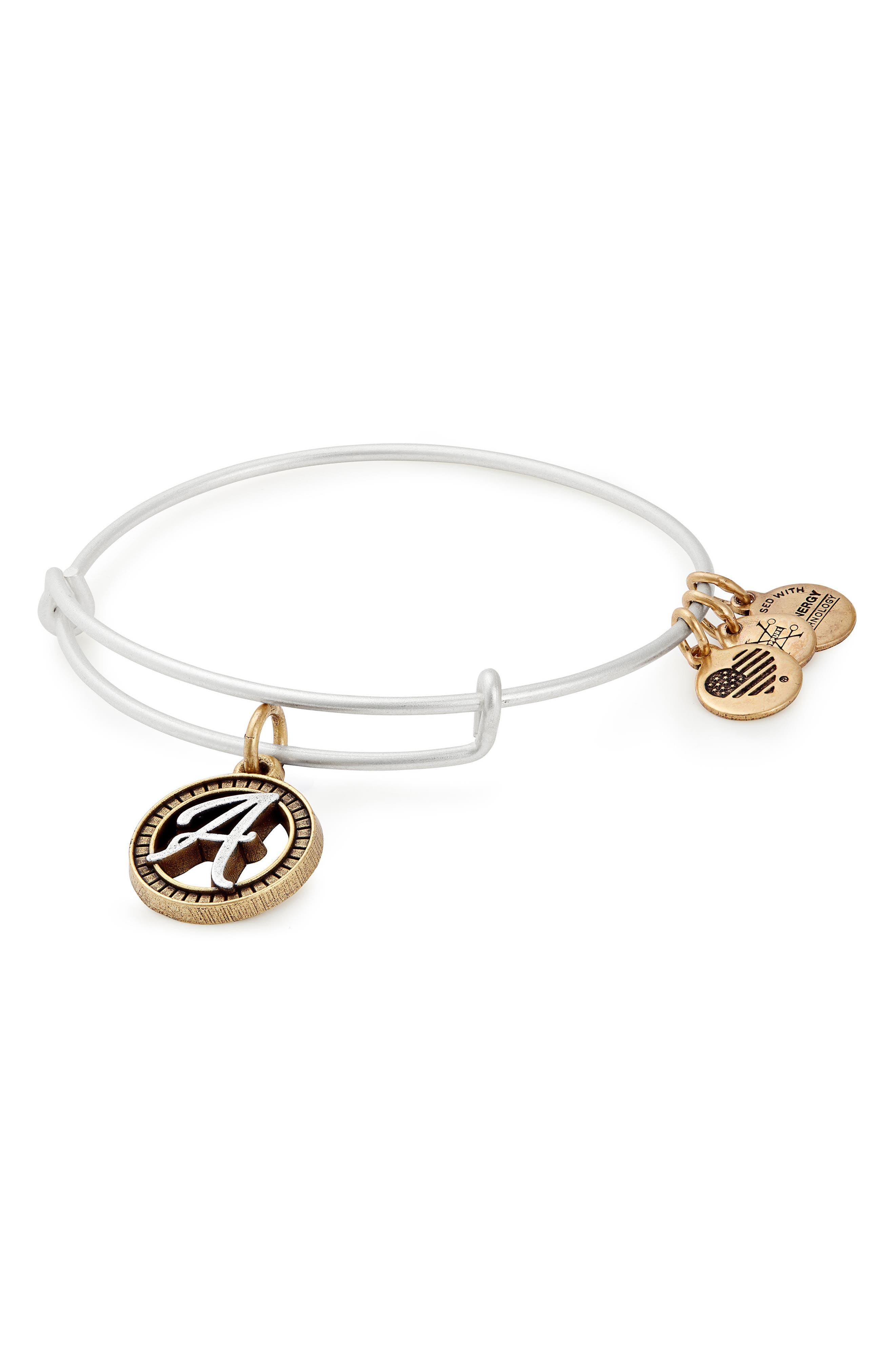 Two-Tone Initial Charm Expandable Bracelet,                         Main,                         color, Two-Tone-A
