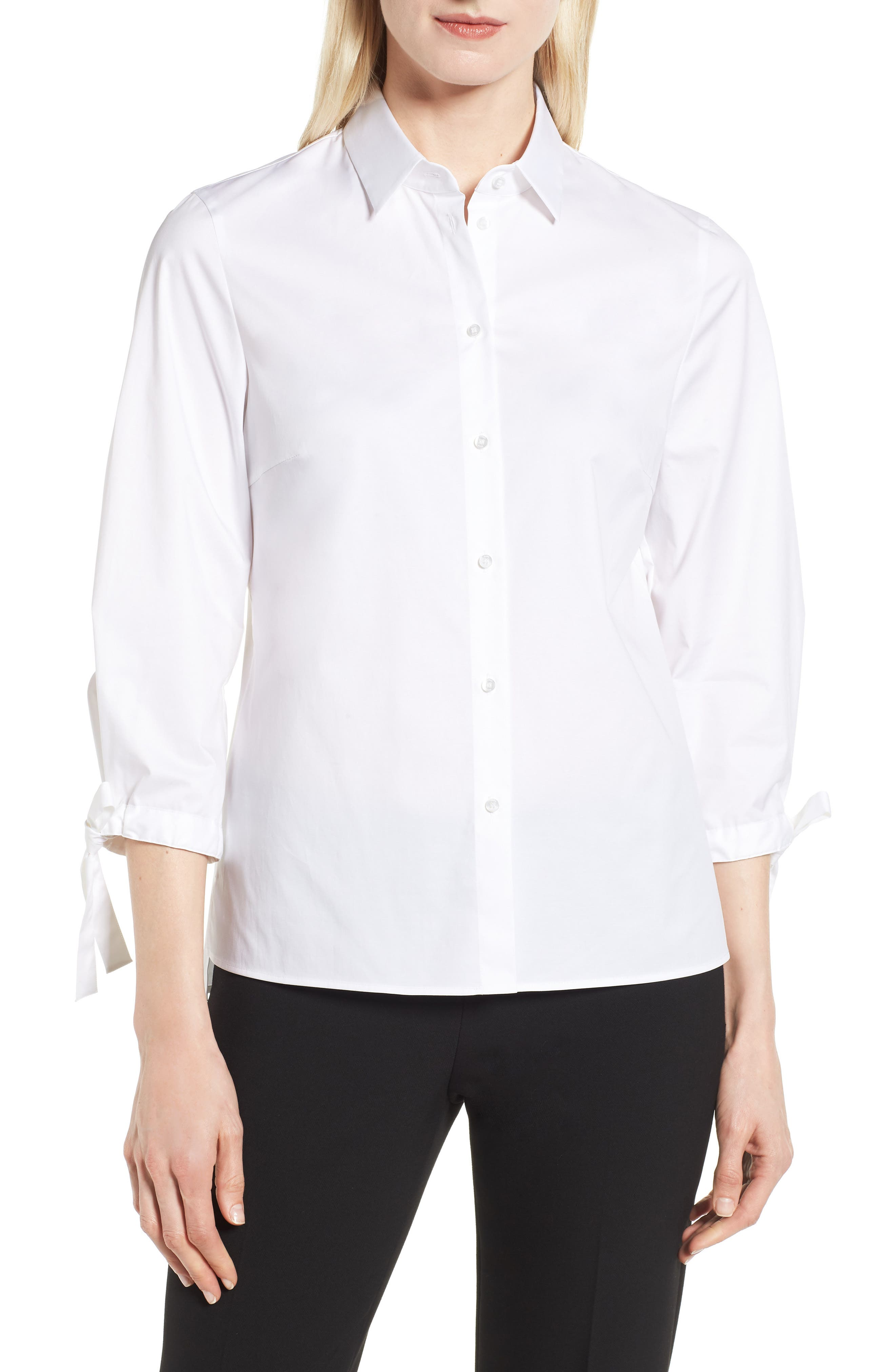 Biulepa Stretch Cotton Tie Sleeve Top,                         Main,                         color, White