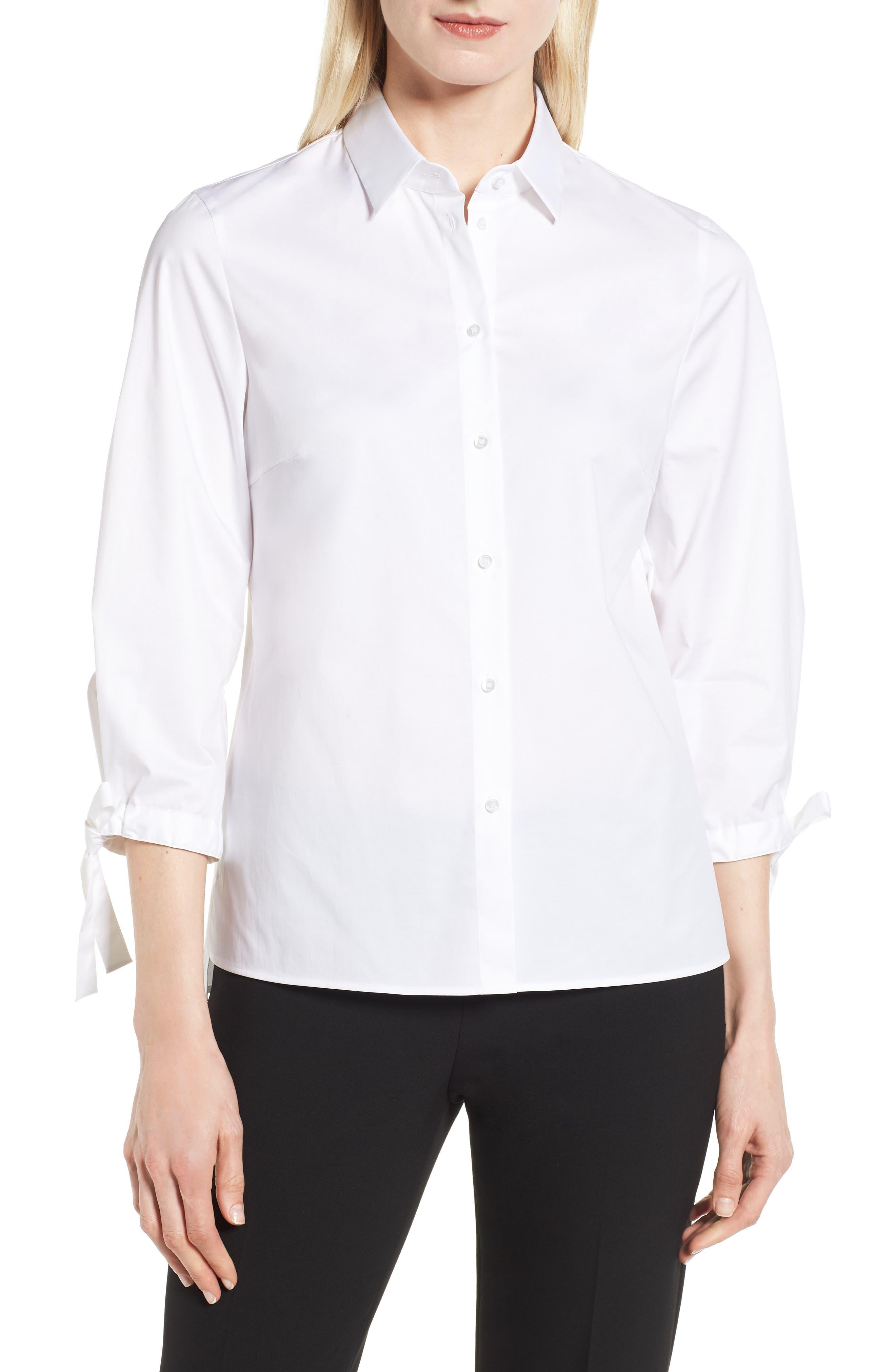BOSS Biulepa Stretch Cotton Tie Sleeve Top