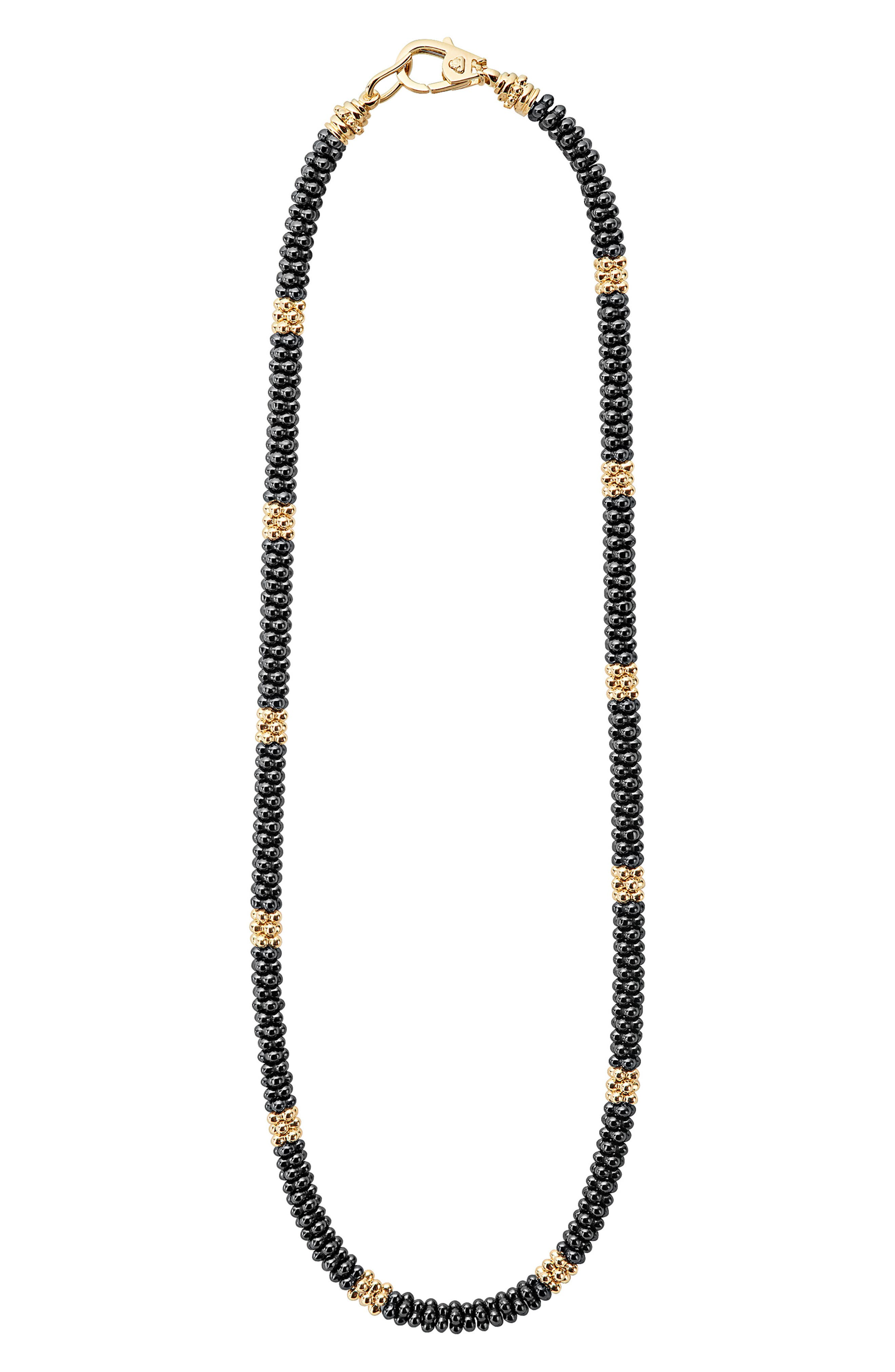 18K Gold & Black Caviar Bead Rope Necklace,                         Main,                         color, Gold