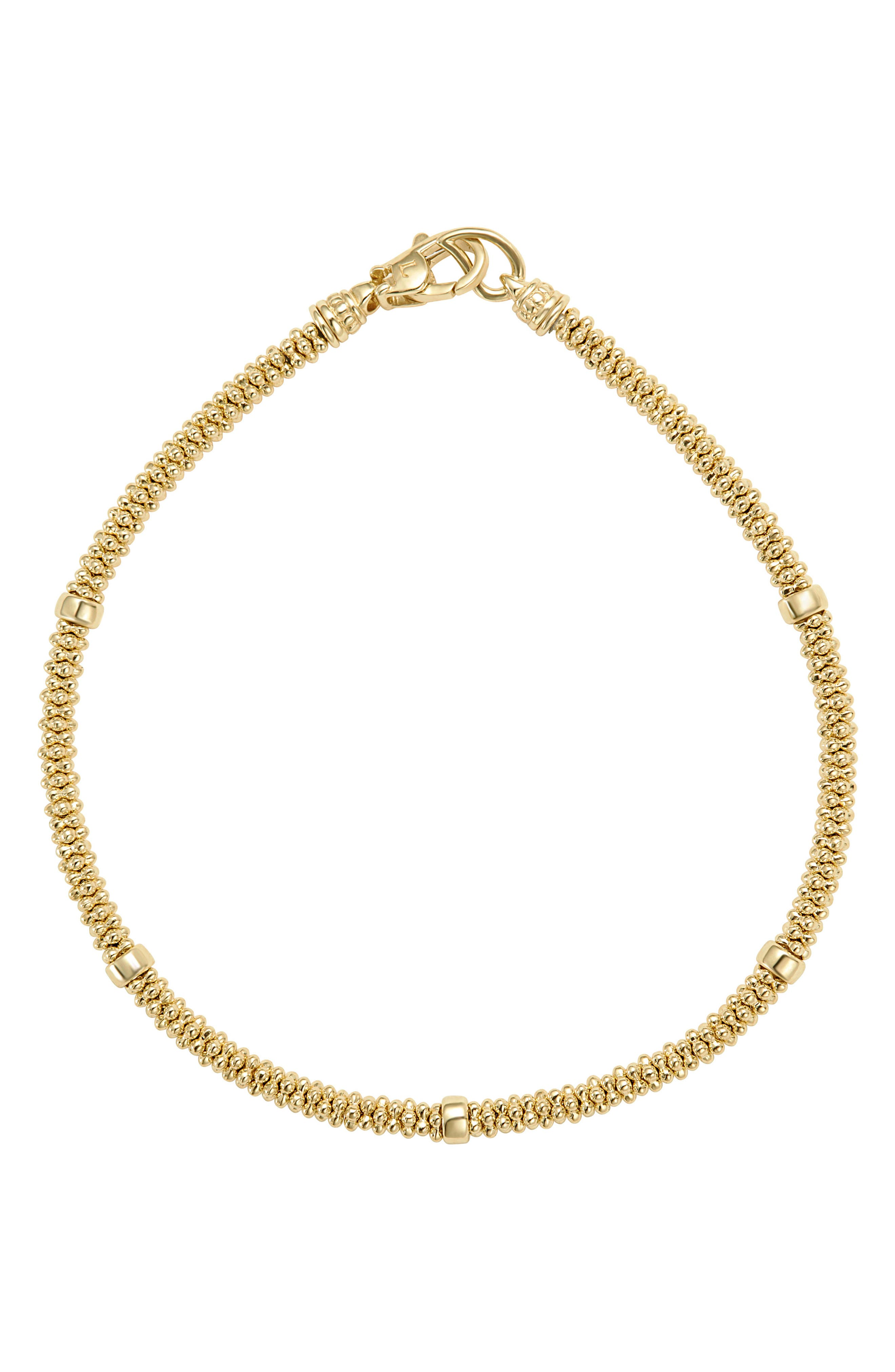 Caviar Gold Rope Bracelet,                             Main thumbnail 1, color,                             Gold