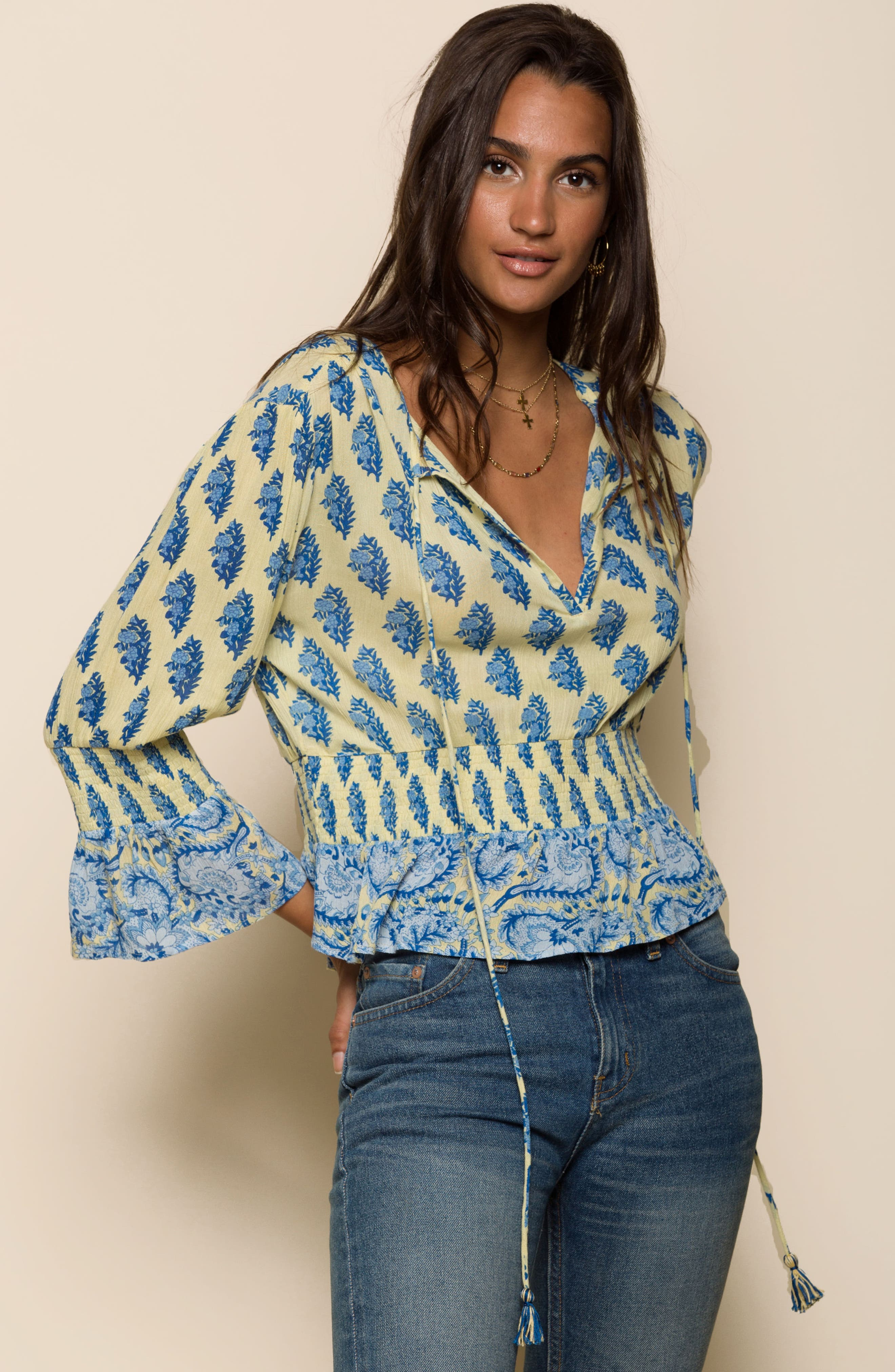 Sunlit Daze Tie Neck Blouse,                             Alternate thumbnail 7, color,