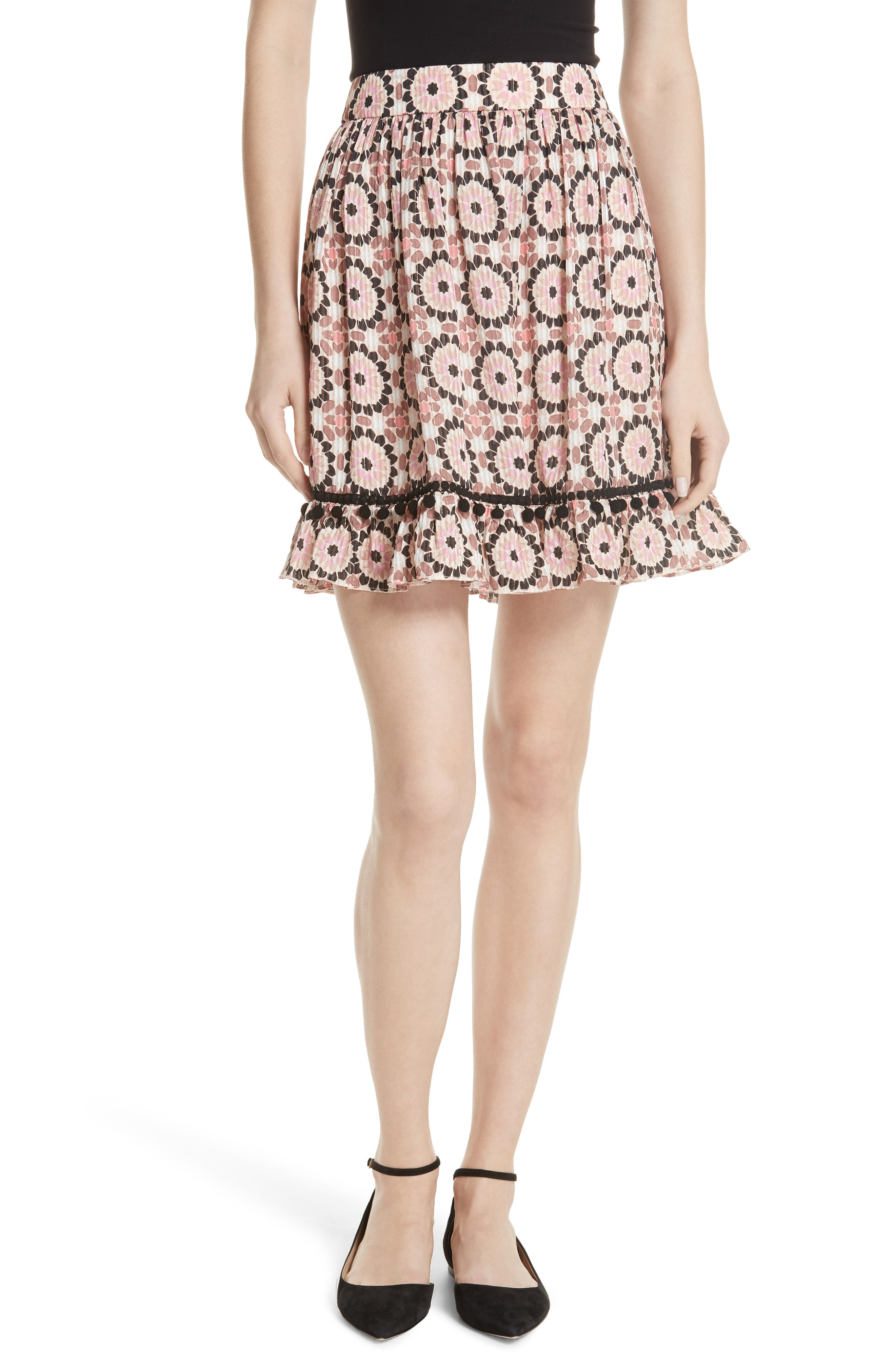 floral mosaic silk blend skirt,                             Main thumbnail 1, color,                             Pearl Pink Multi