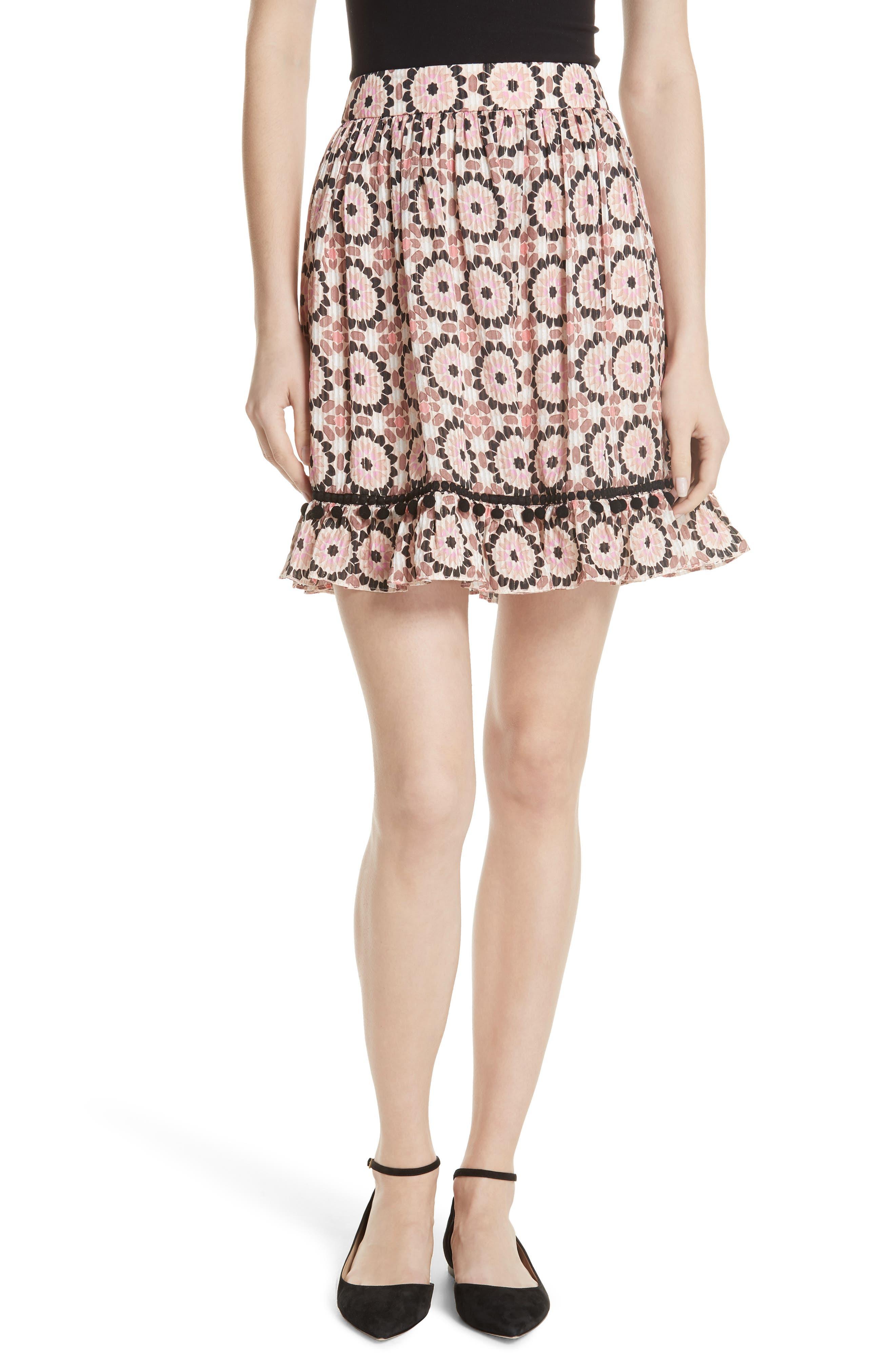 floral mosaic silk blend skirt,                         Main,                         color, Pearl Pink Multi