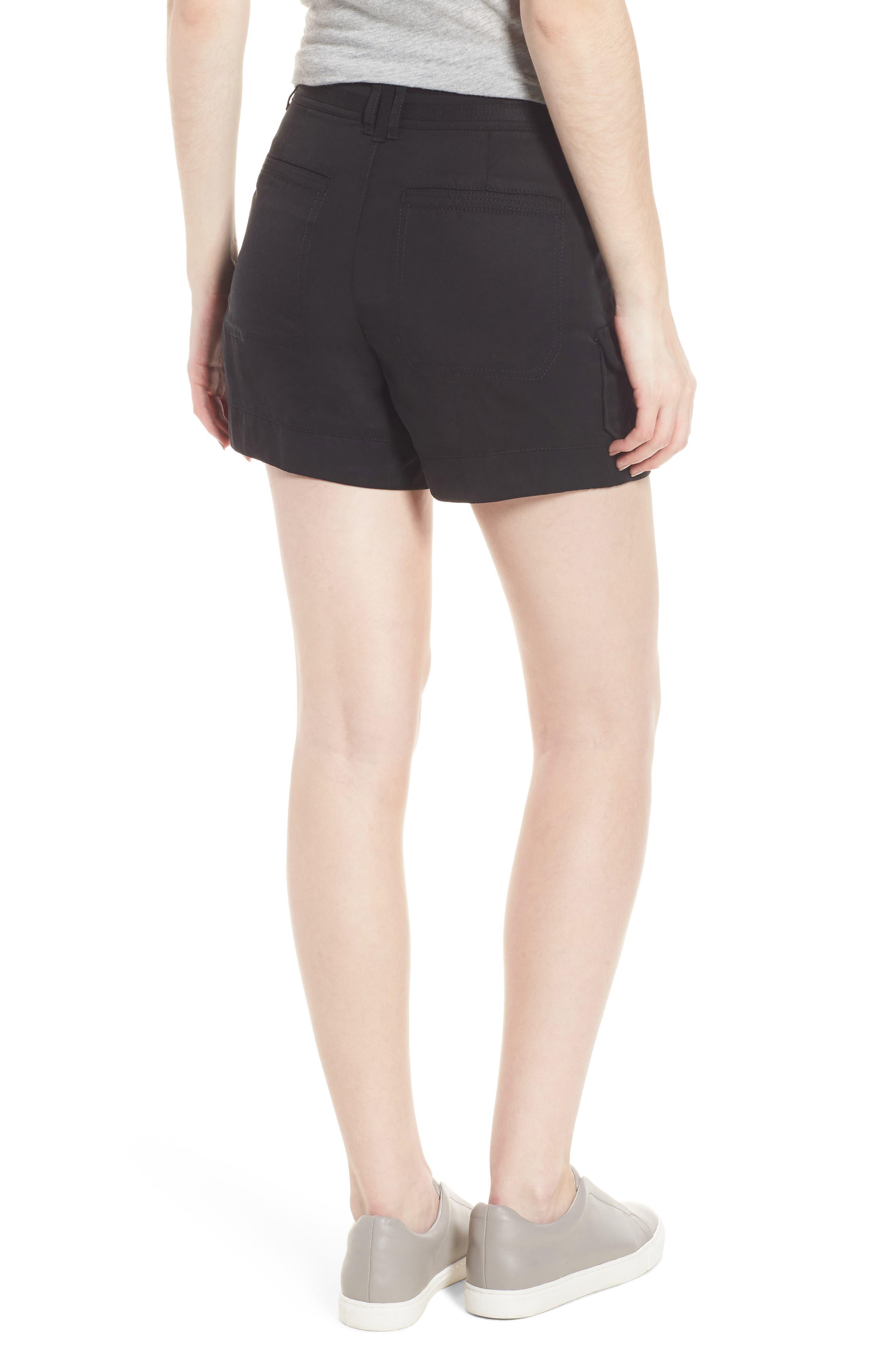 High Rise Tencel Shorts,                             Alternate thumbnail 2, color,                             Black
