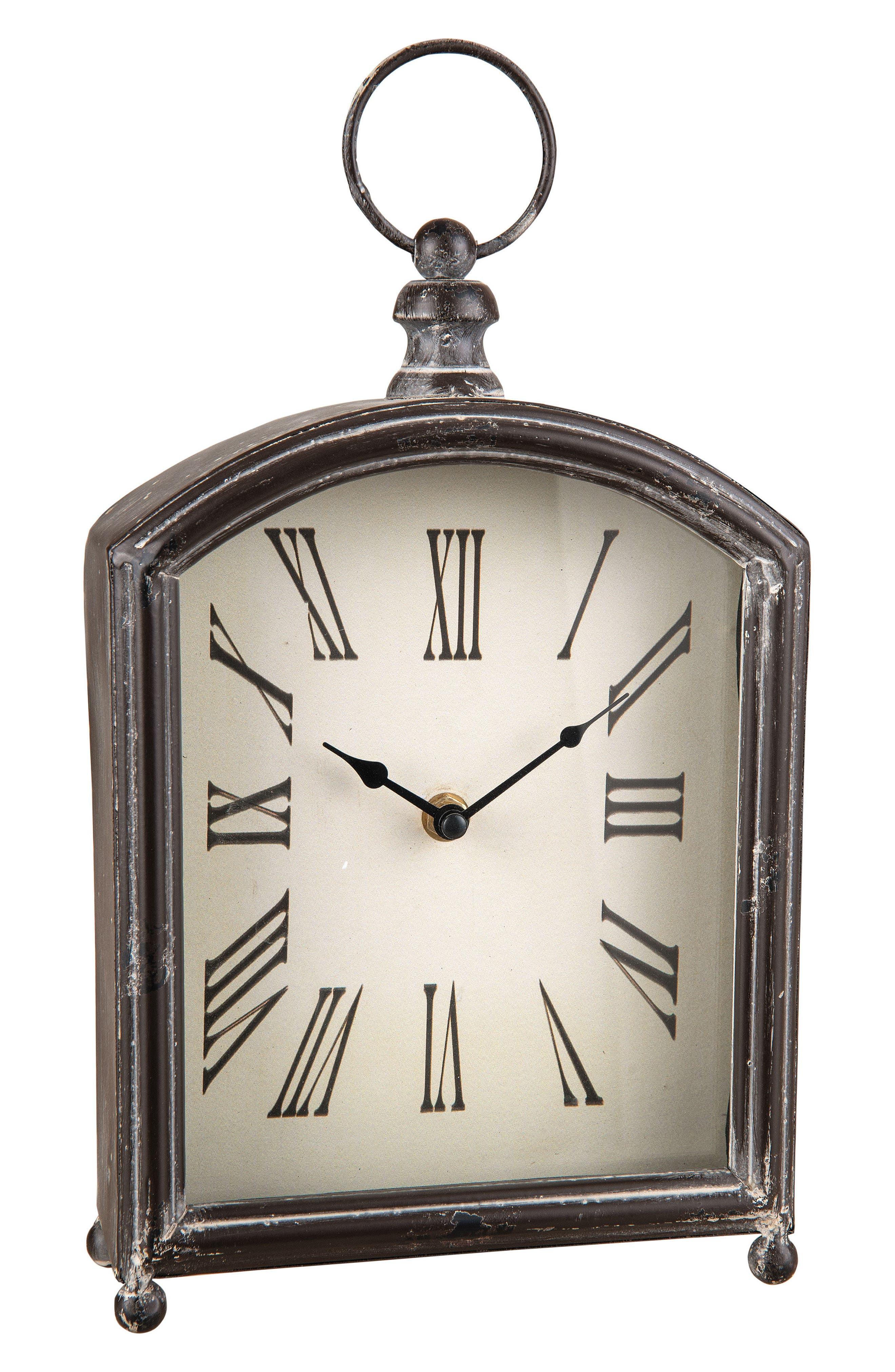 Ranch Table Clock,                             Main thumbnail 1, color,                             Metal/ Glass/ Wood