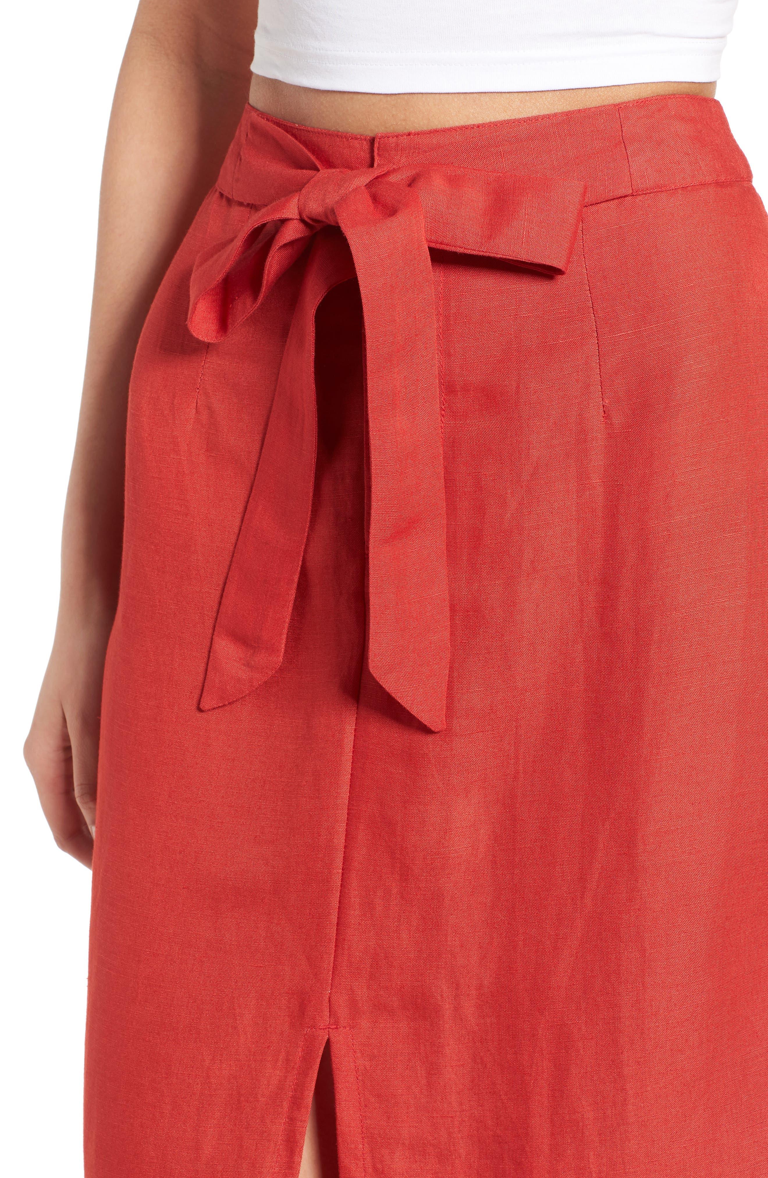 Linen Blend Midi Skirt,                             Alternate thumbnail 4, color,                             Red