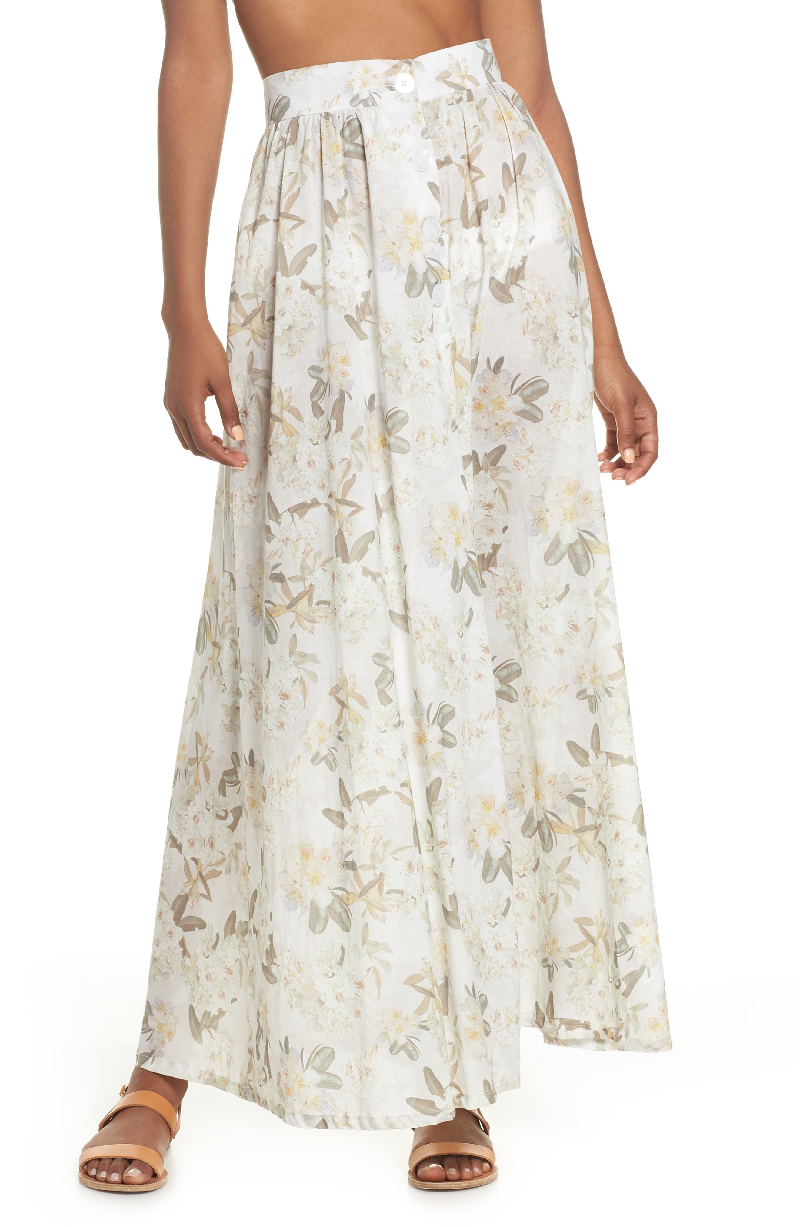 Edith Cover-Up Maxi Skirt,                             Main thumbnail 1, color,                             Ete Floral White