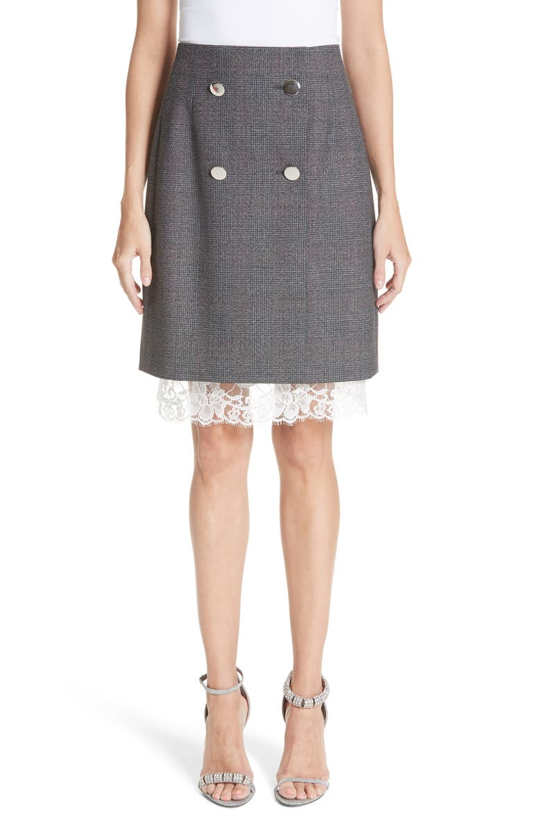Lace Trim Wool Skirt