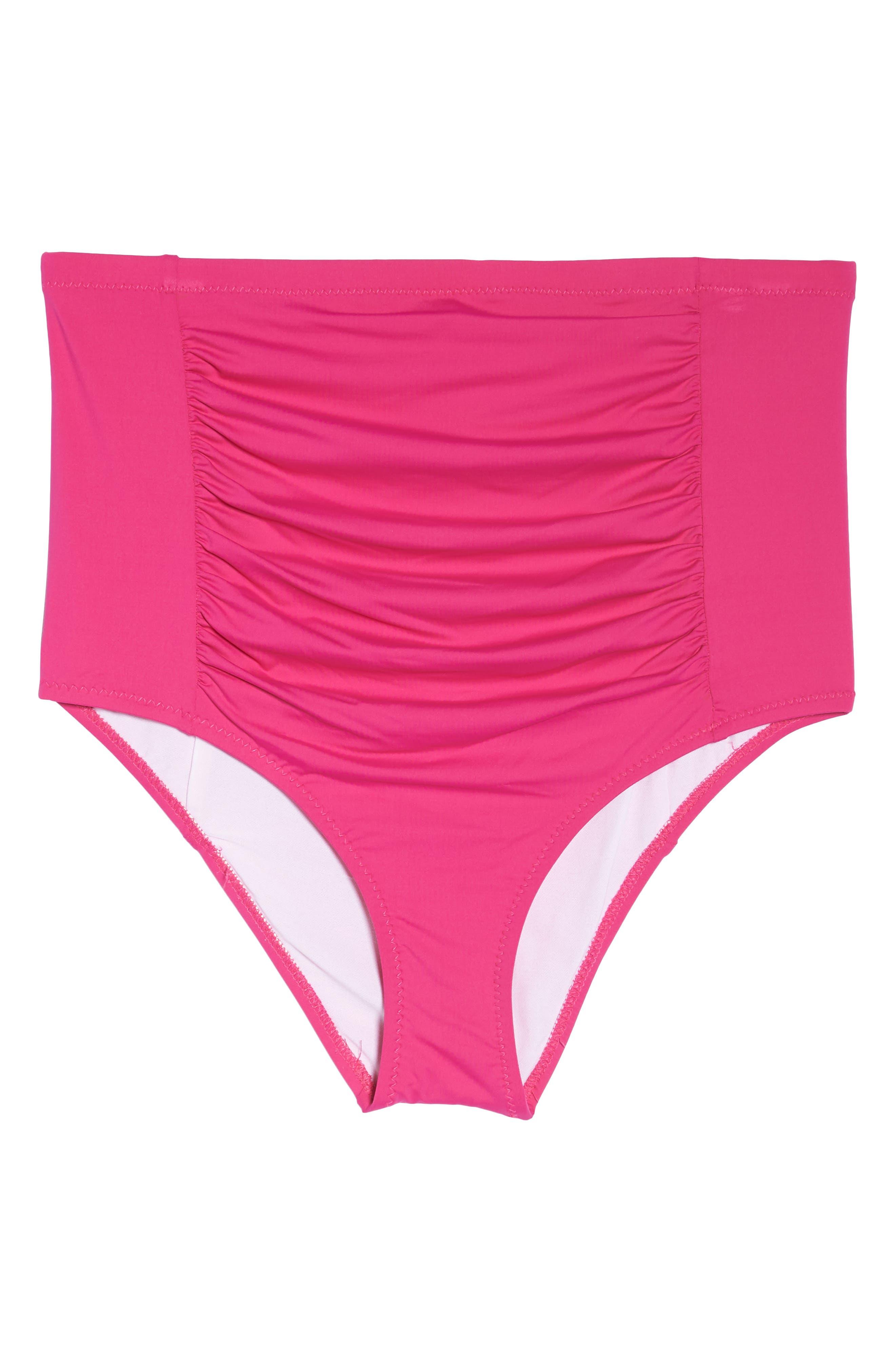 Color Code High Waist Bikini Bottoms,                             Alternate thumbnail 8, color,                             Flamingo