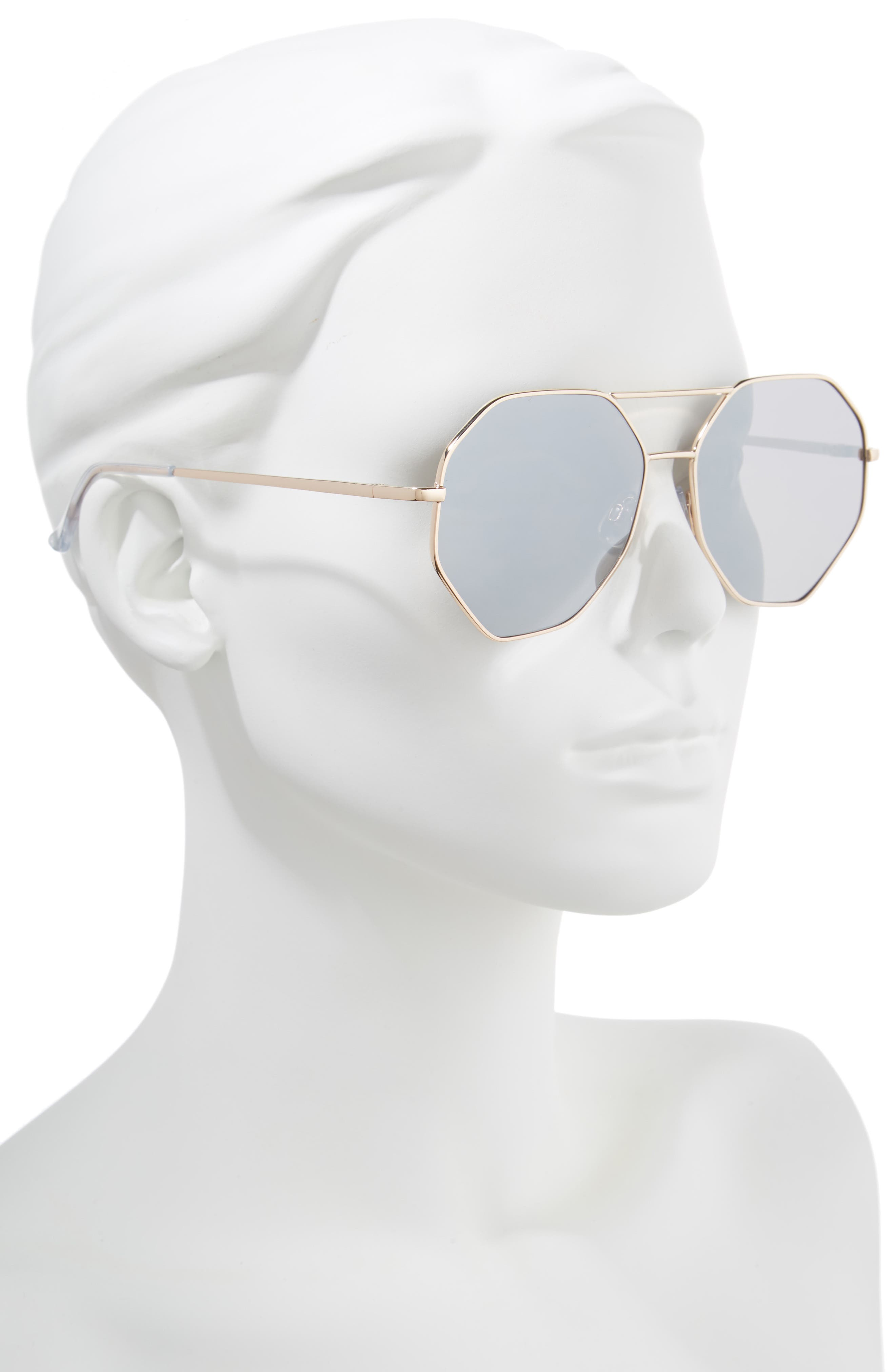 Hexcon Aviator Sunglasses,                             Alternate thumbnail 2, color,                             Shiny Gold/ Silver
