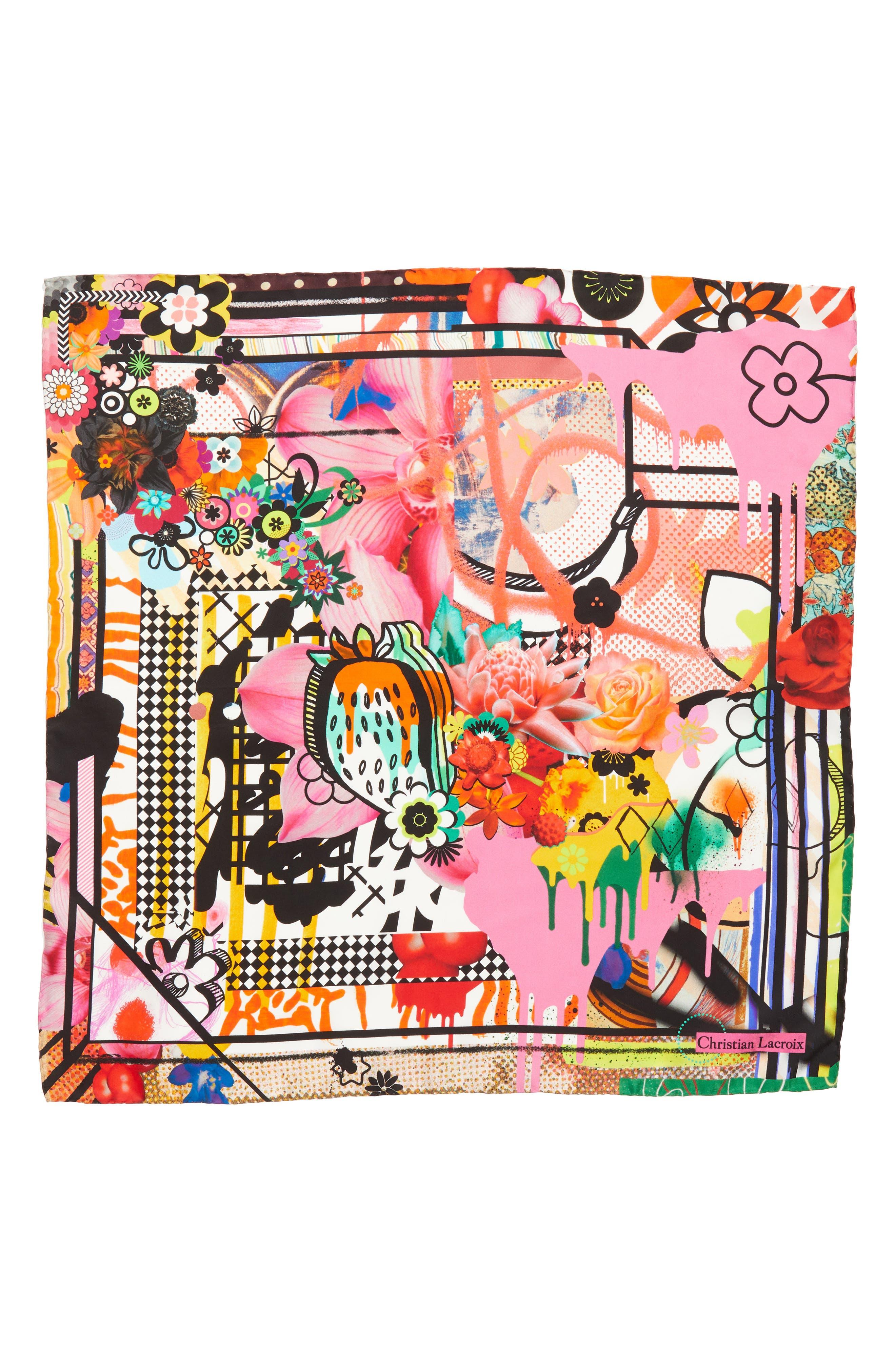 Christian Lacroix Floral Silk Scarf