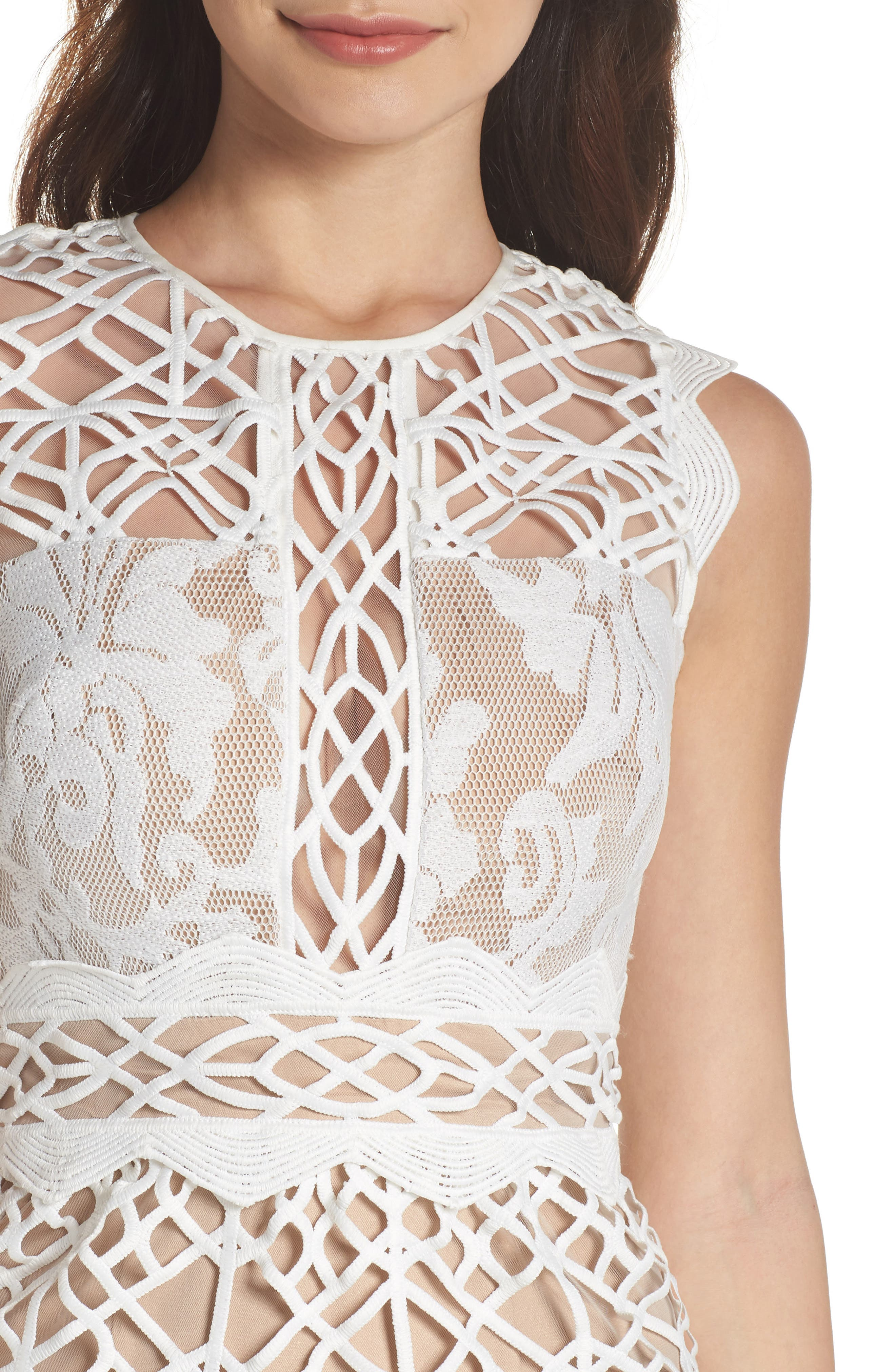 Mixed Lace Dress,                             Alternate thumbnail 4, color,                             Ivory Nude