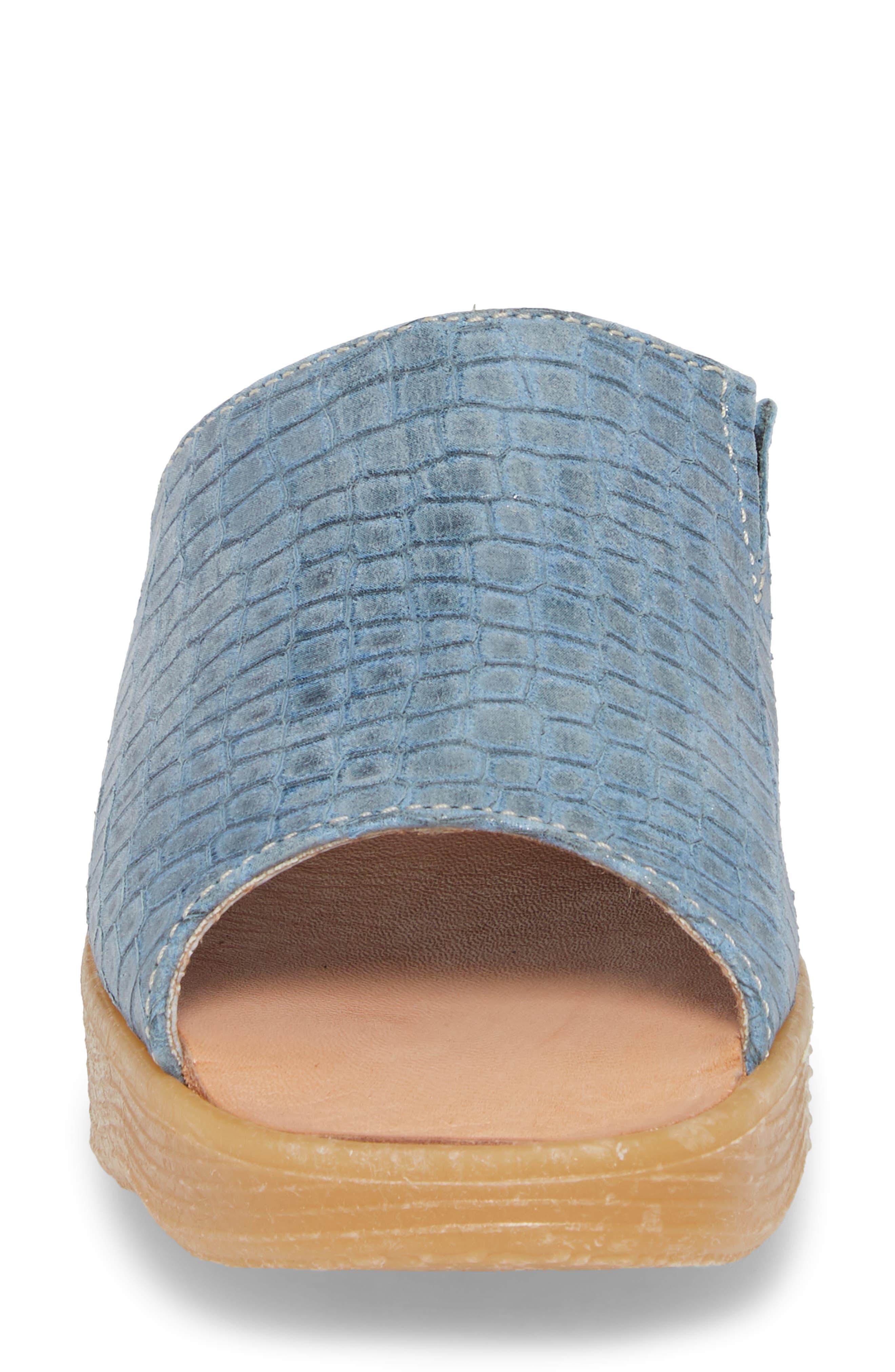 Slide N Sleek Wedge Slide Sandal,                             Alternate thumbnail 4, color,                             Aqua Croc Printed Leather