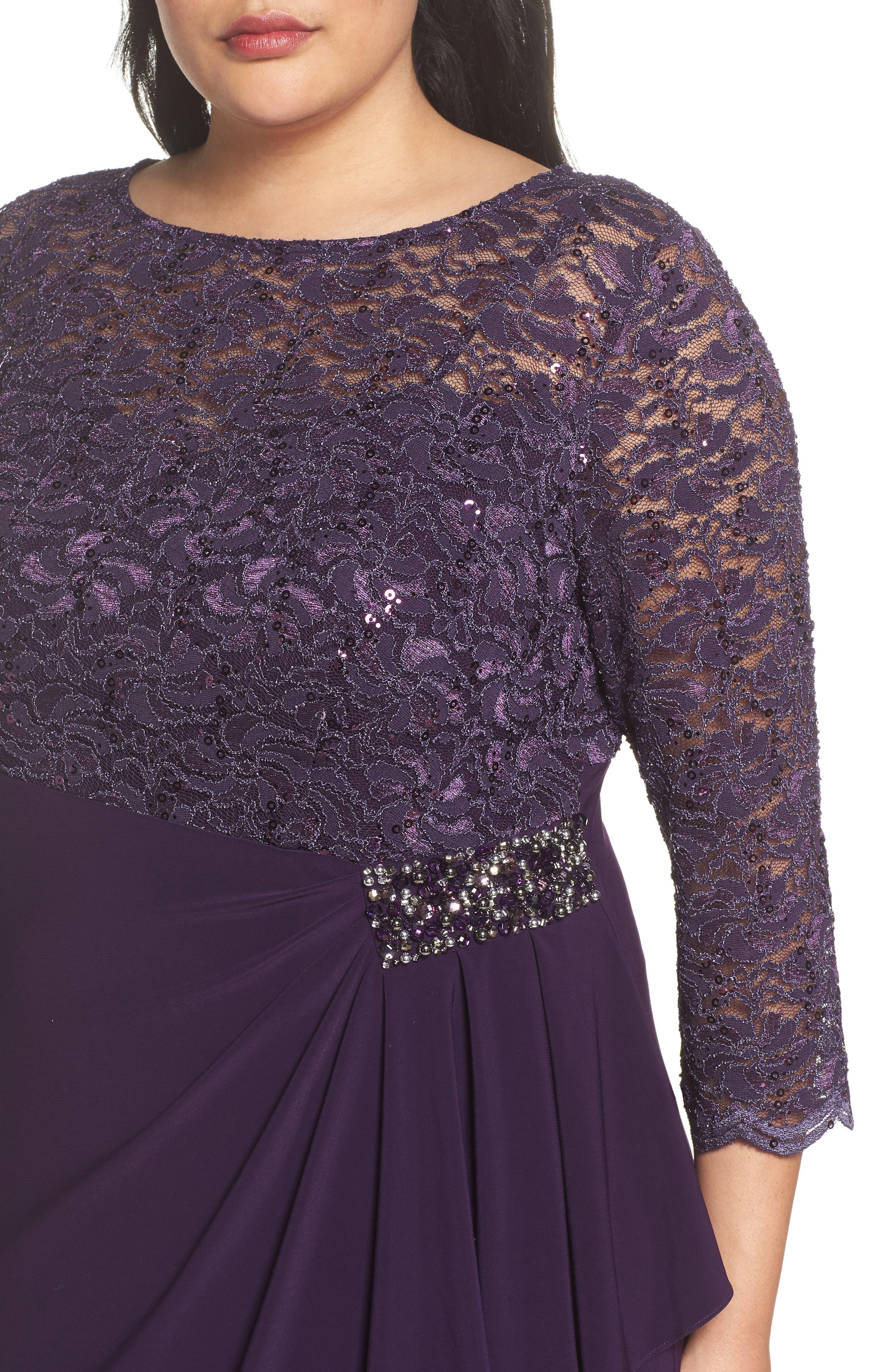 Embellished Ruffle Detail Shift Dress,                             Alternate thumbnail 4, color,                             Eggplant