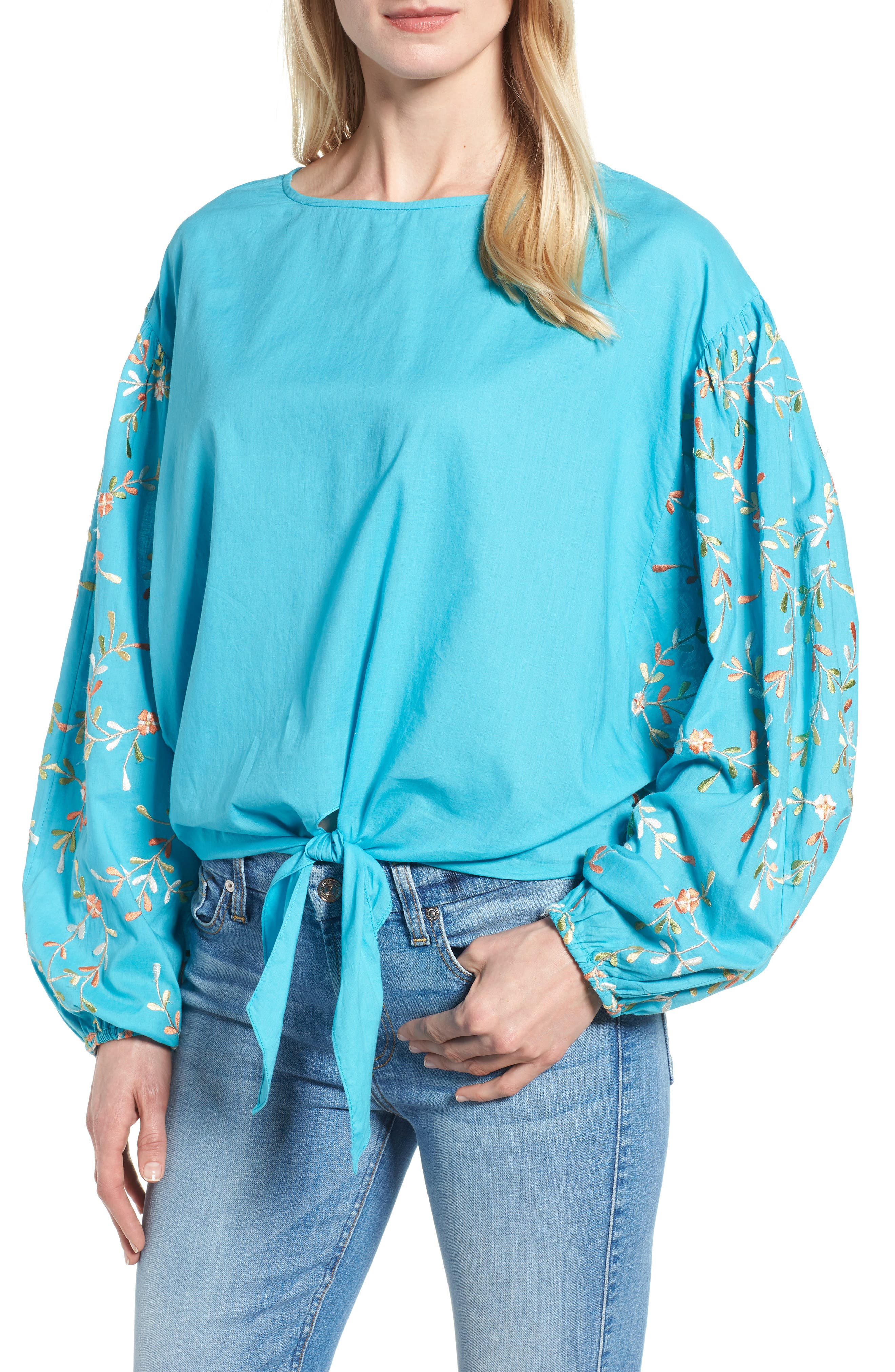 Coline Front Tie Embroidered Sleeve Blouse,                             Main thumbnail 1, color,                             Turquoise