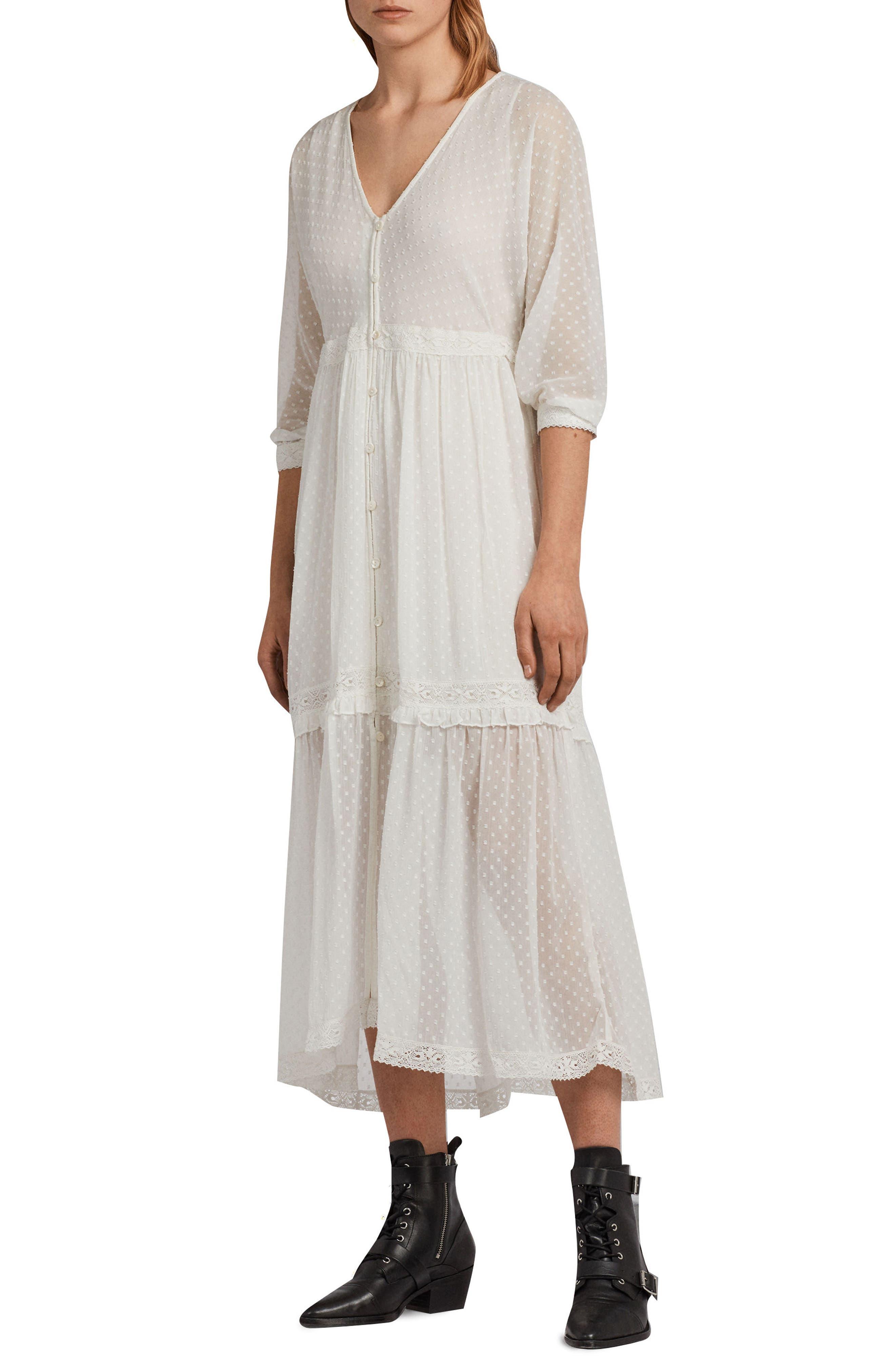 Palma Polka Dot Dress,                         Main,                         color, Chalk White