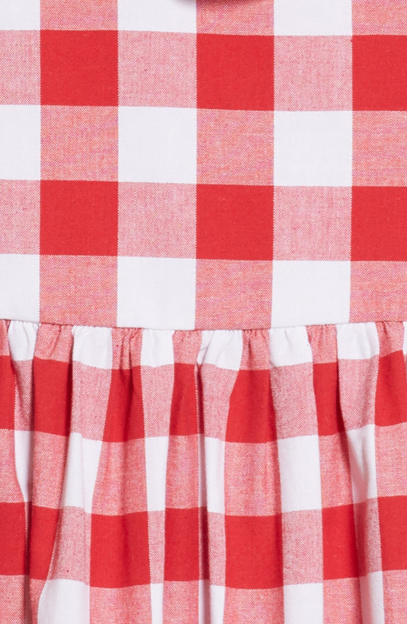 Pastourelle by Pippa and Julie Cross Back Gingham Dress,                             Alternate thumbnail 3, color,                             Red/ White
