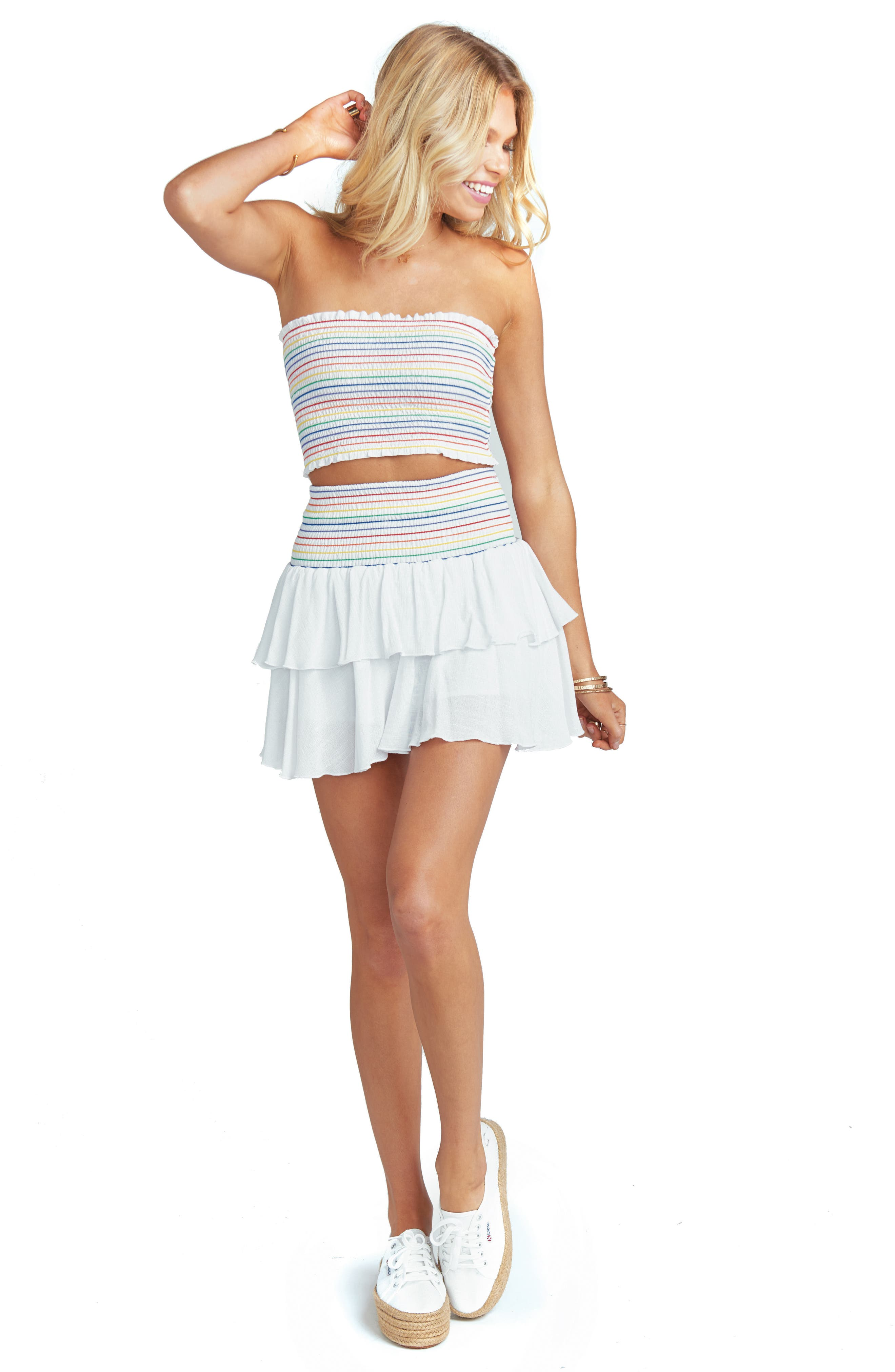 Frolick Ruffle Skort,                             Alternate thumbnail 2, color,                             White Cruise With Rainbow