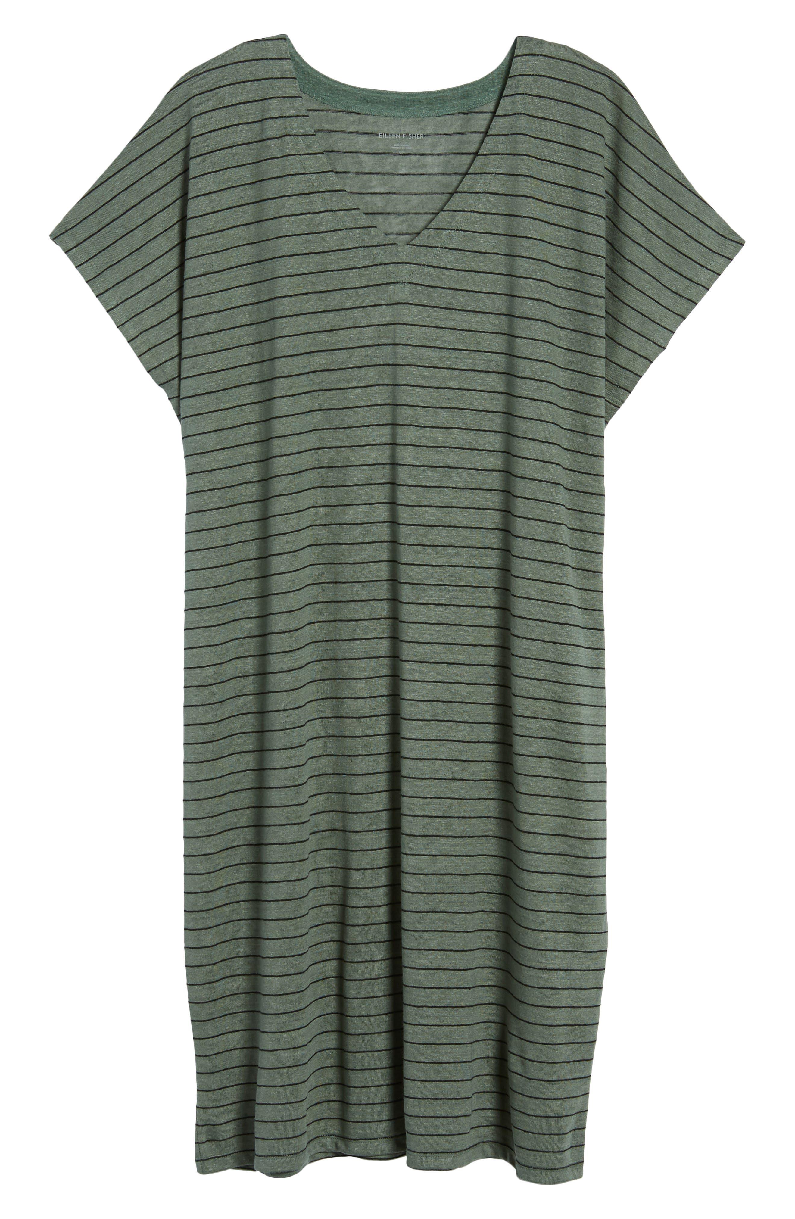 Stripe Organic Linen Shift Dress,                             Alternate thumbnail 7, color,                             Nori
