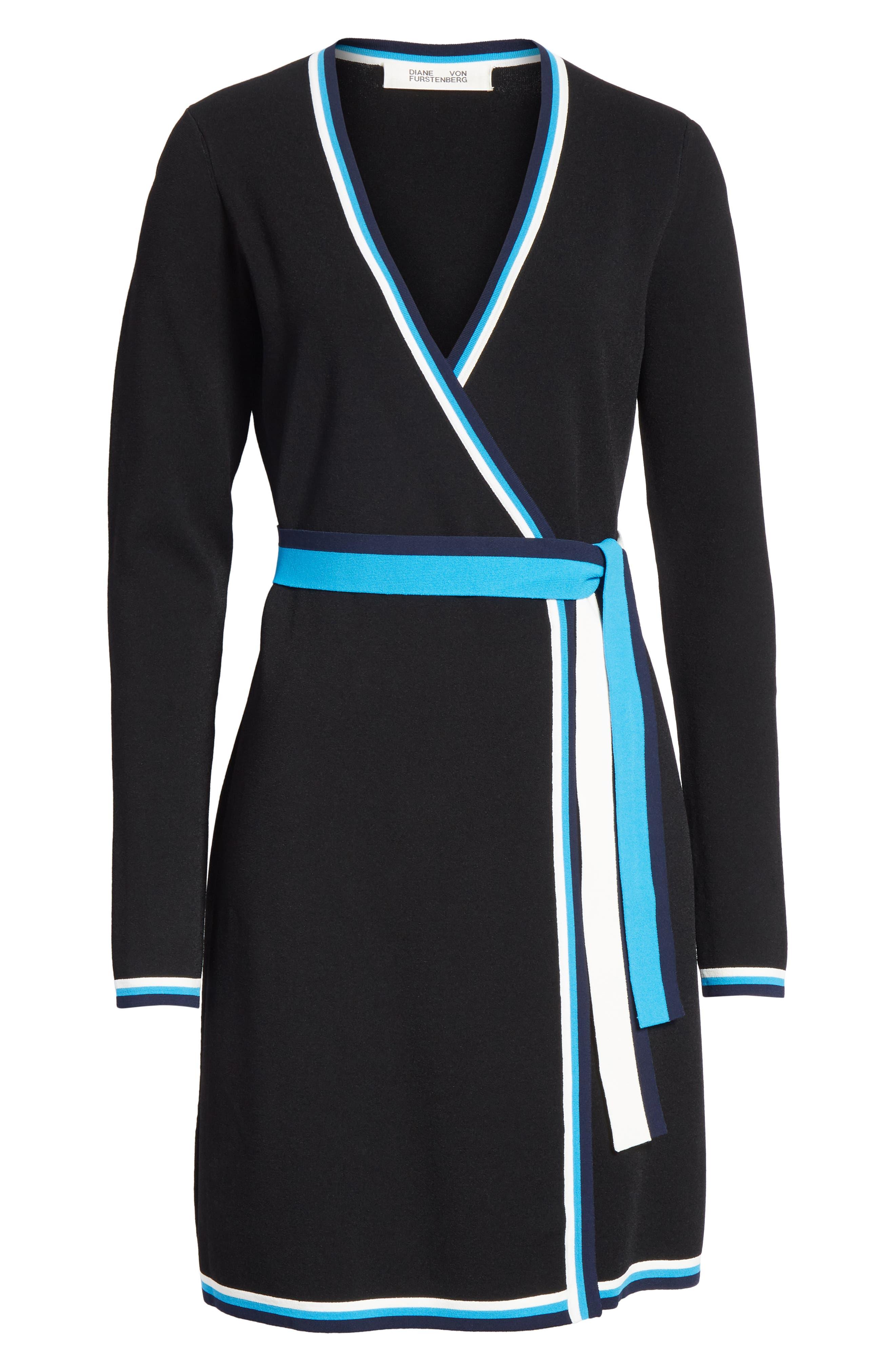 Diane von Furstenberg Wrap Sweater Dress,                             Alternate thumbnail 6, color,                             Laguna Multi