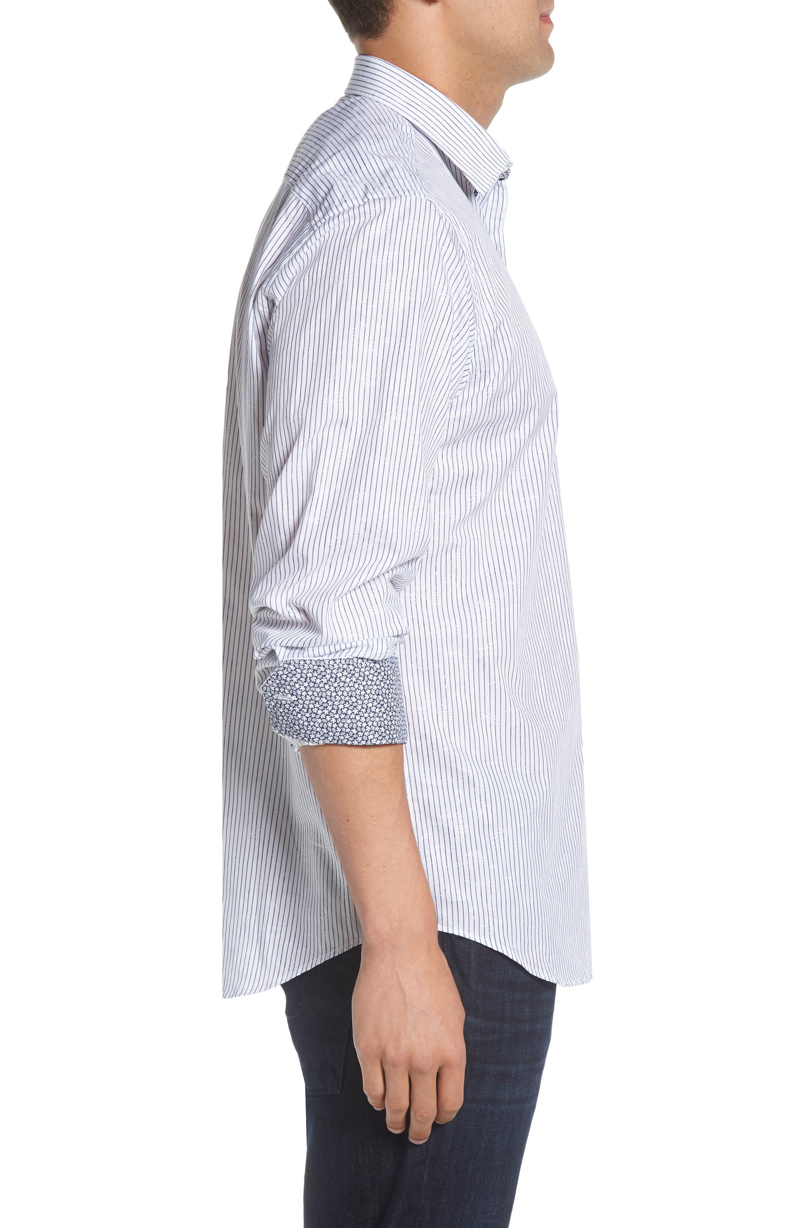 Classic Fit Stripe Jacquard Sport Shirt,                             Alternate thumbnail 4, color,                             Navy