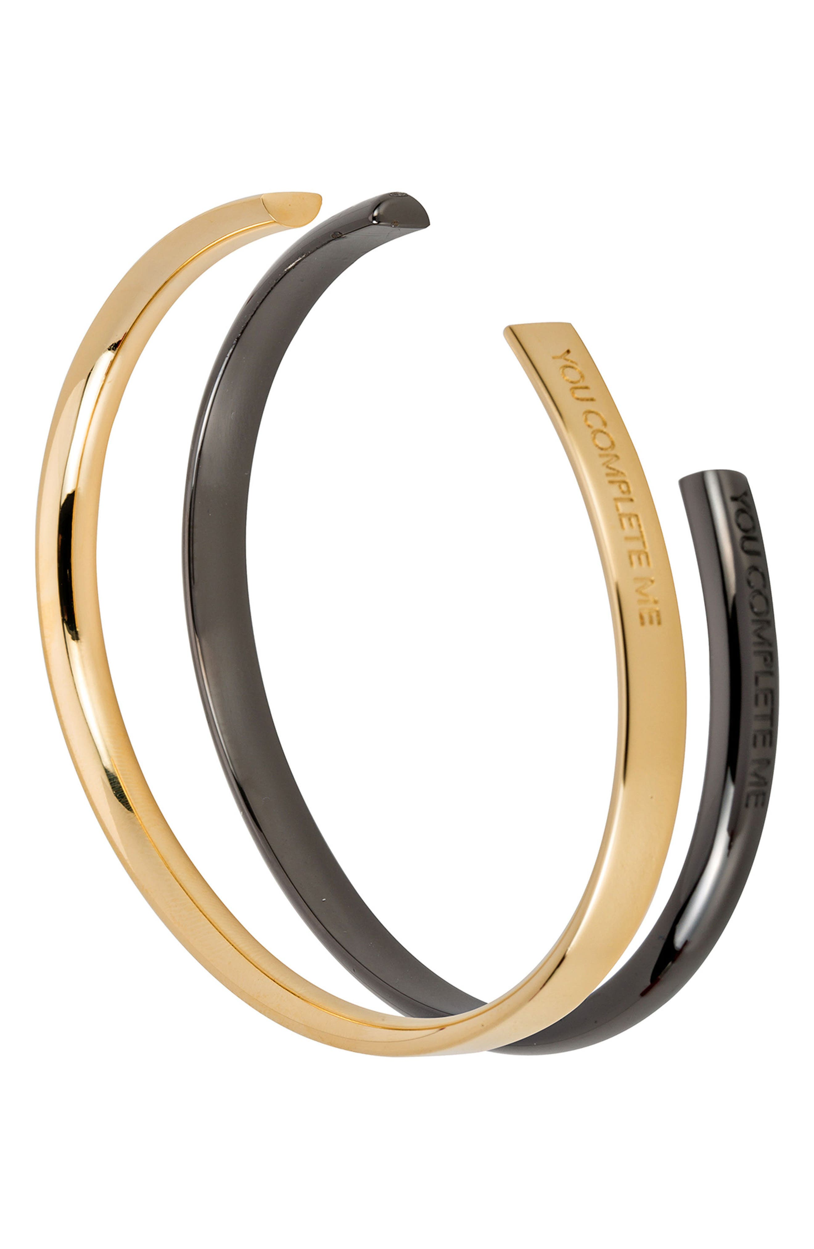 You Complete Me Set of 2 Cuffs,                         Main,                         color, Gold
