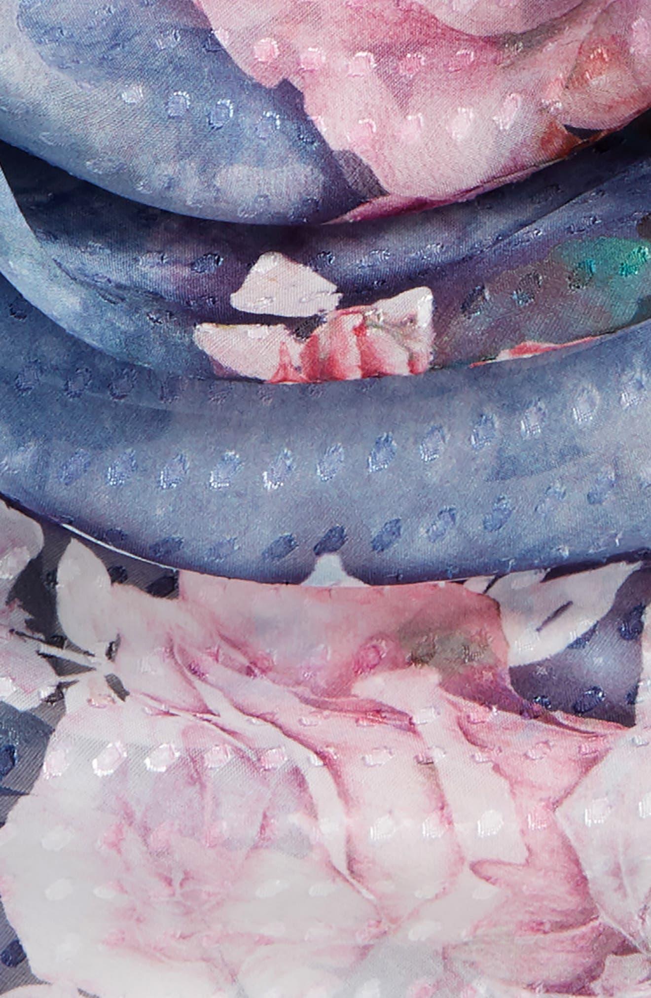 Jacquard Dot Silk Blend Scarf,                             Alternate thumbnail 3, color,                             Navy Water Garden