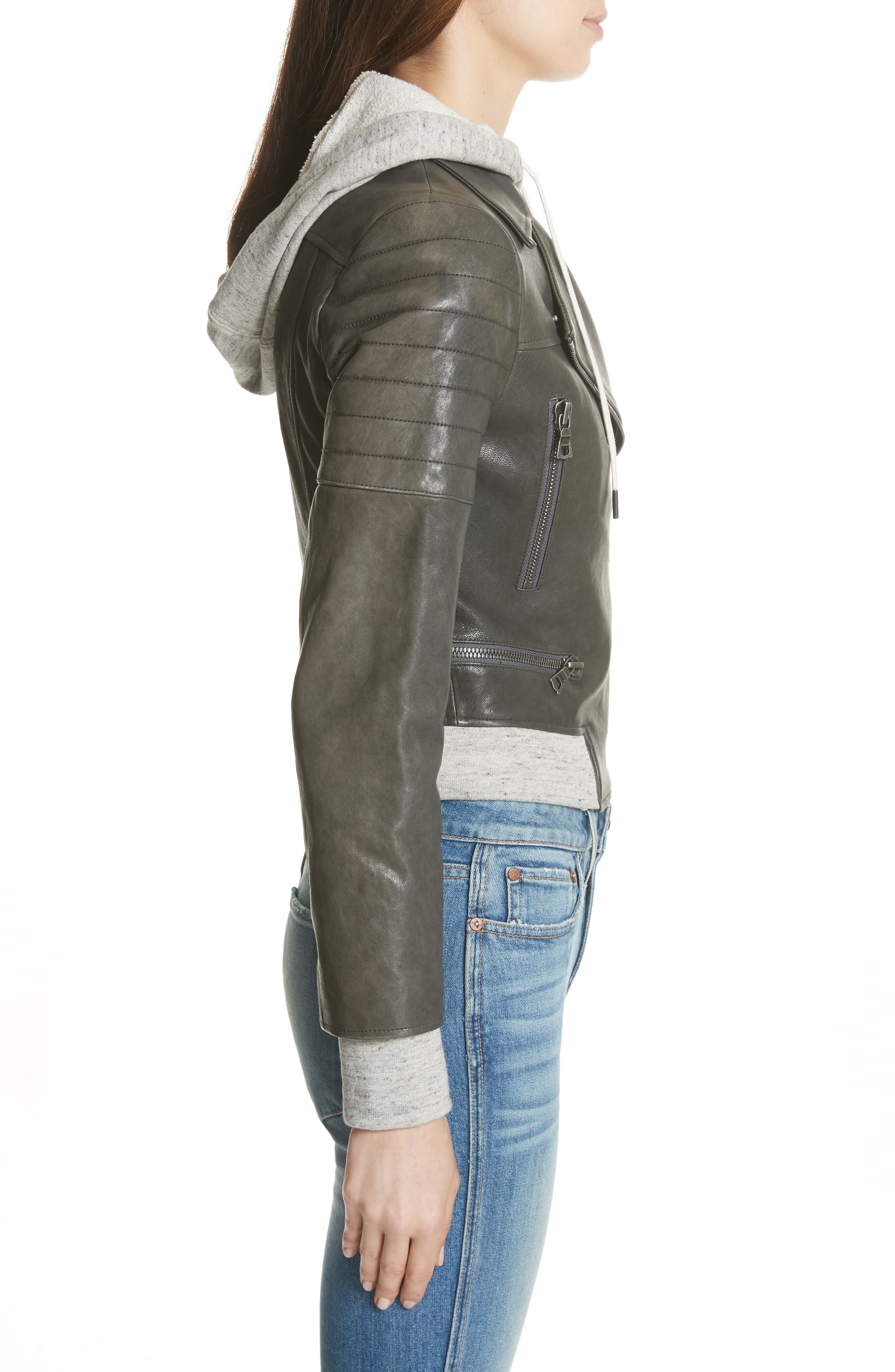 Avril Hooded Combo Leather Jacket,                             Alternate thumbnail 6, color,                             Charcoal